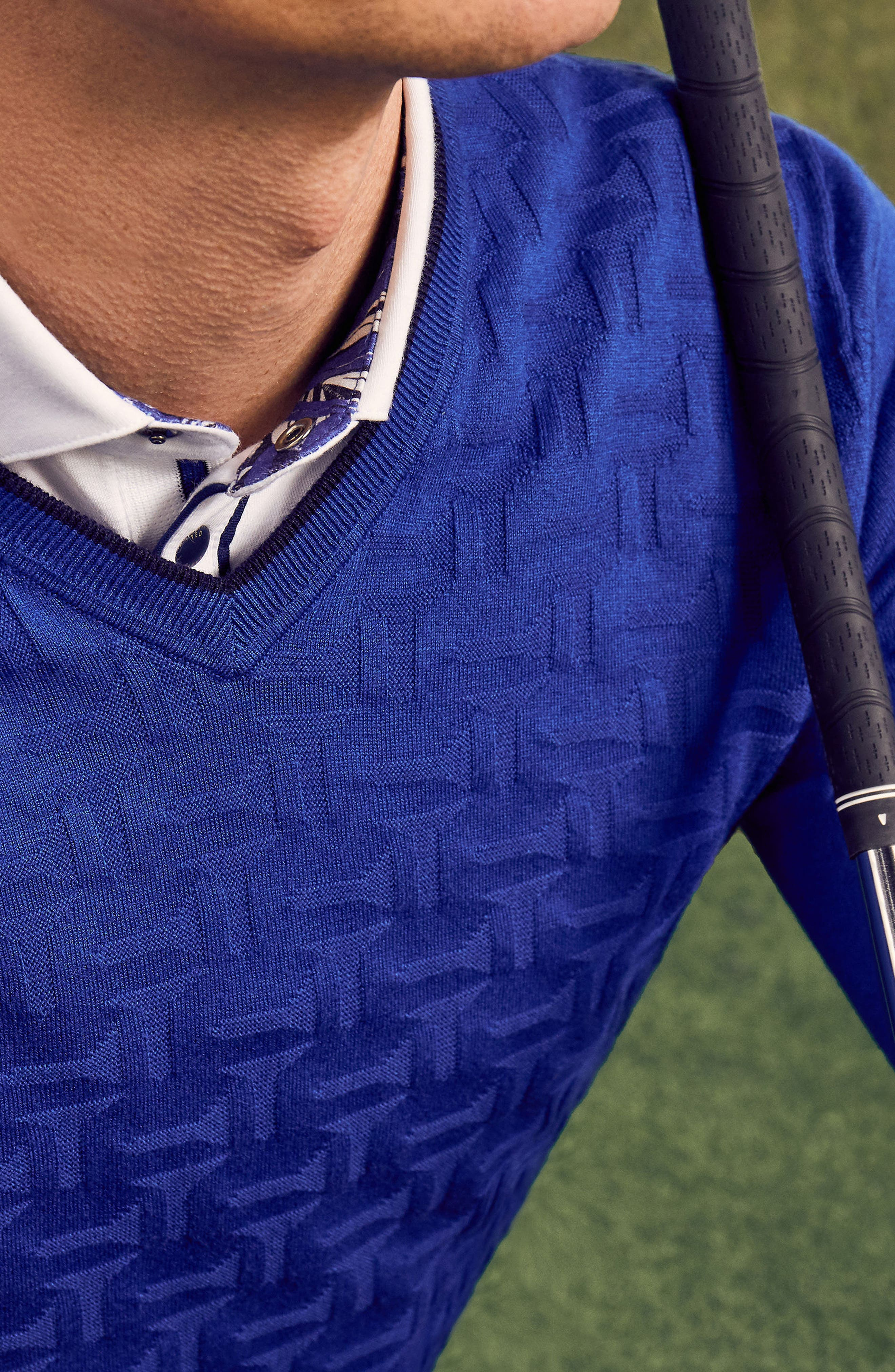 Armstro Tipped Golf Tee Sweater,                             Alternate thumbnail 7, color,                             Blue