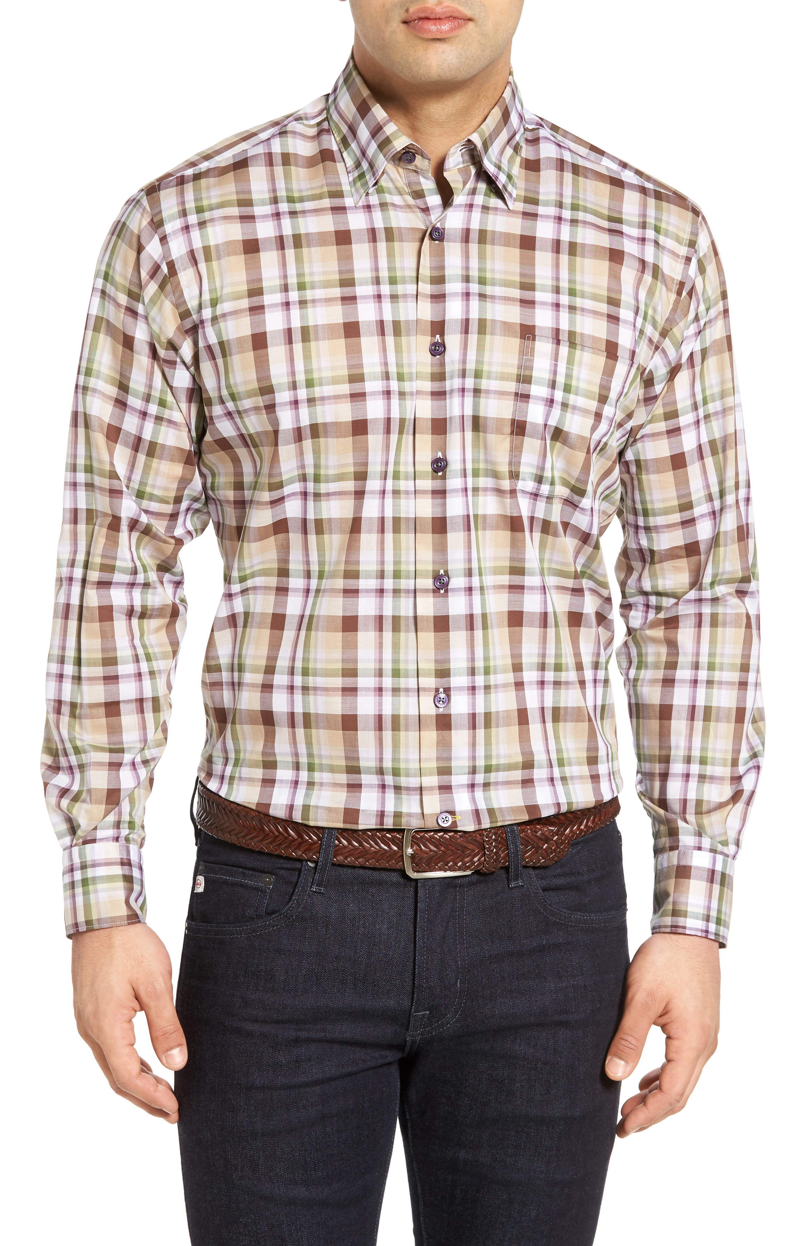 Anderson Classic Fit Sport Shirt,                         Main,                         color, Brown/ Iris