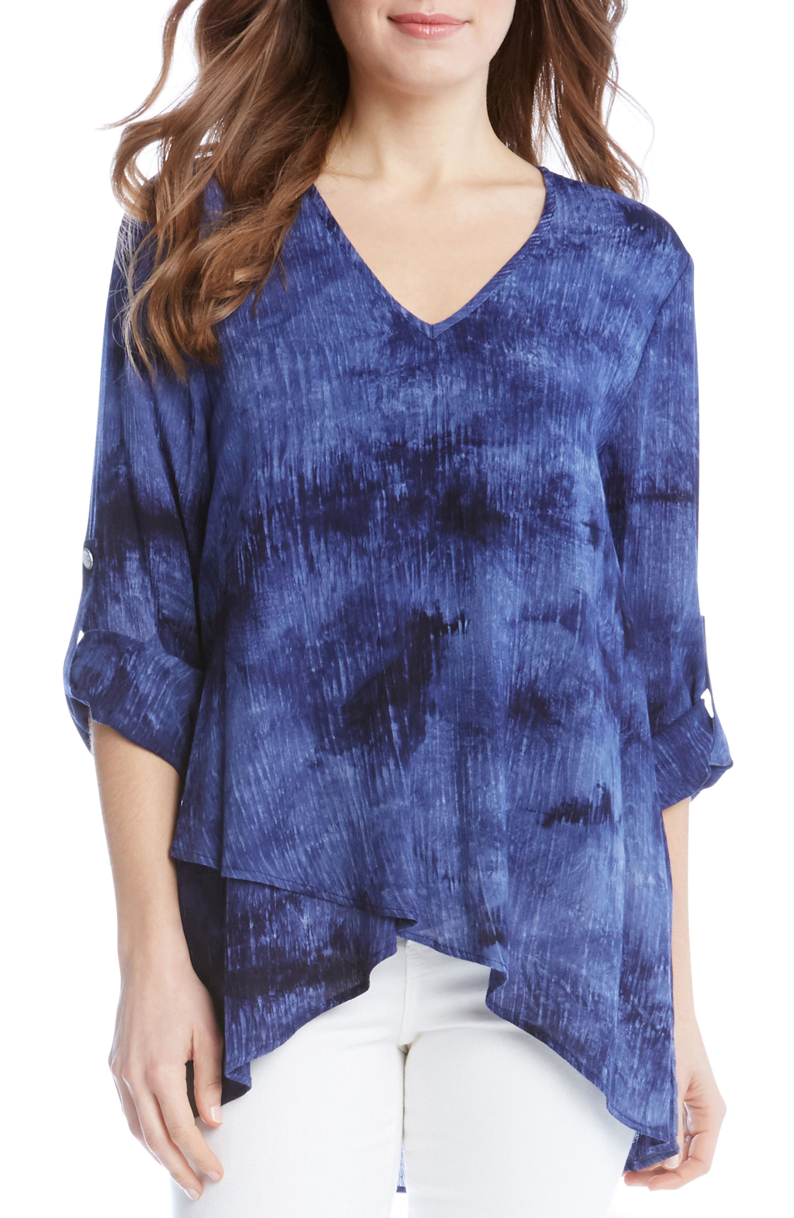 Alternate Image 1 Selected - Karen Kane Asymmetrical Wrap Hem Top