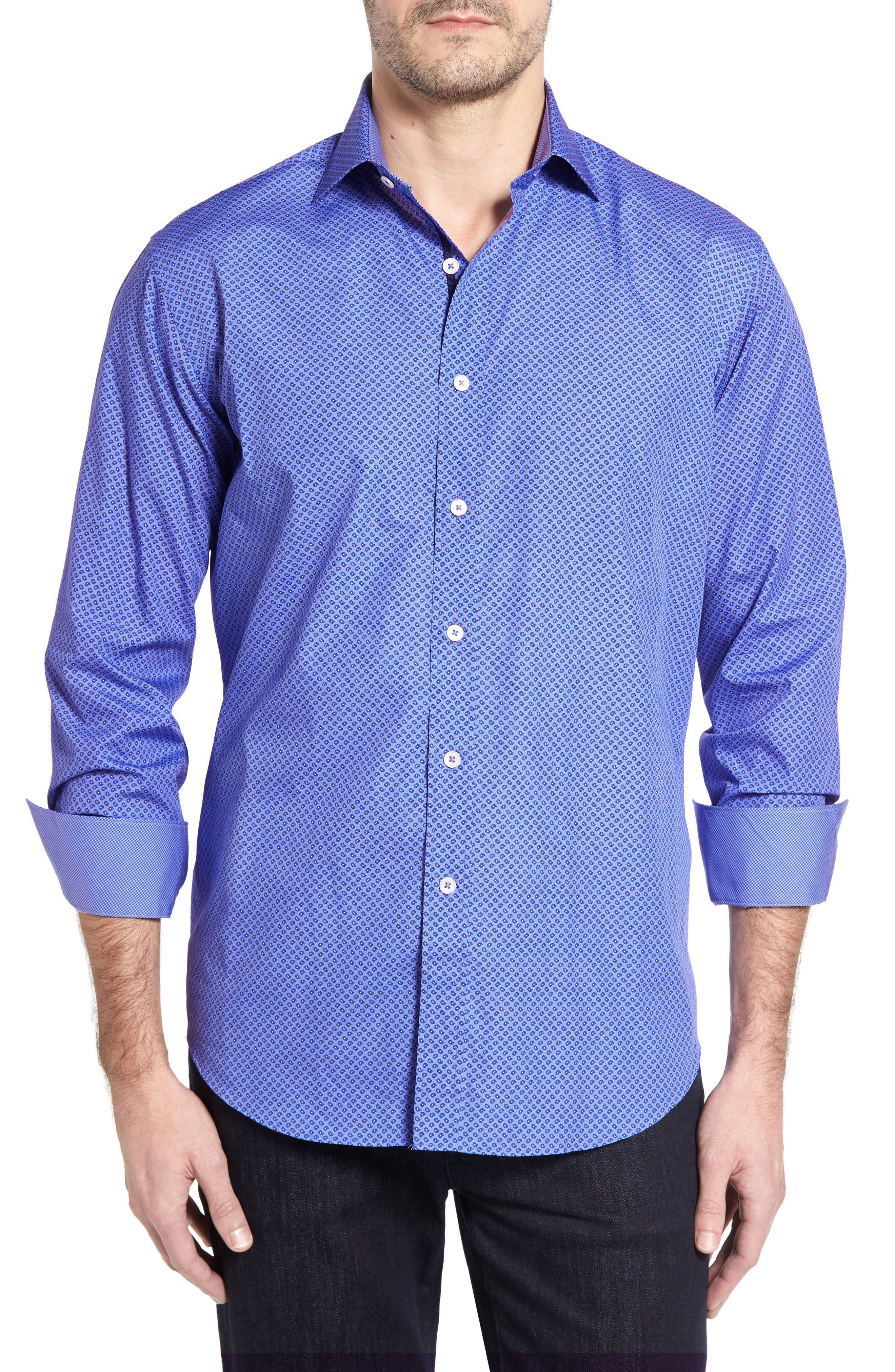 Classic Fit Paisley Print Sport Shirt,                         Main,                         color, Classic Blue
