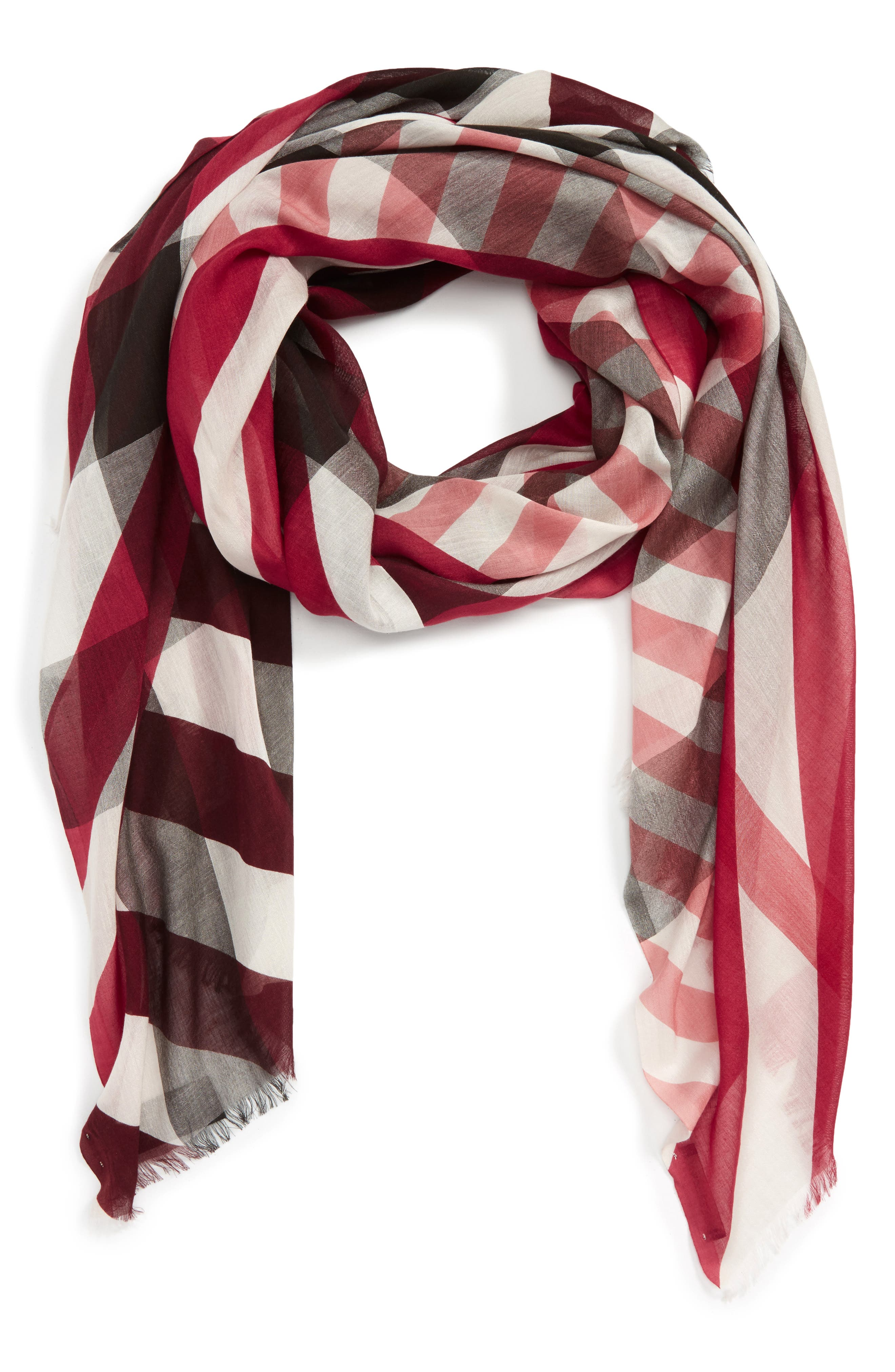 Main Image - Burberry Stripe & Check Scarf