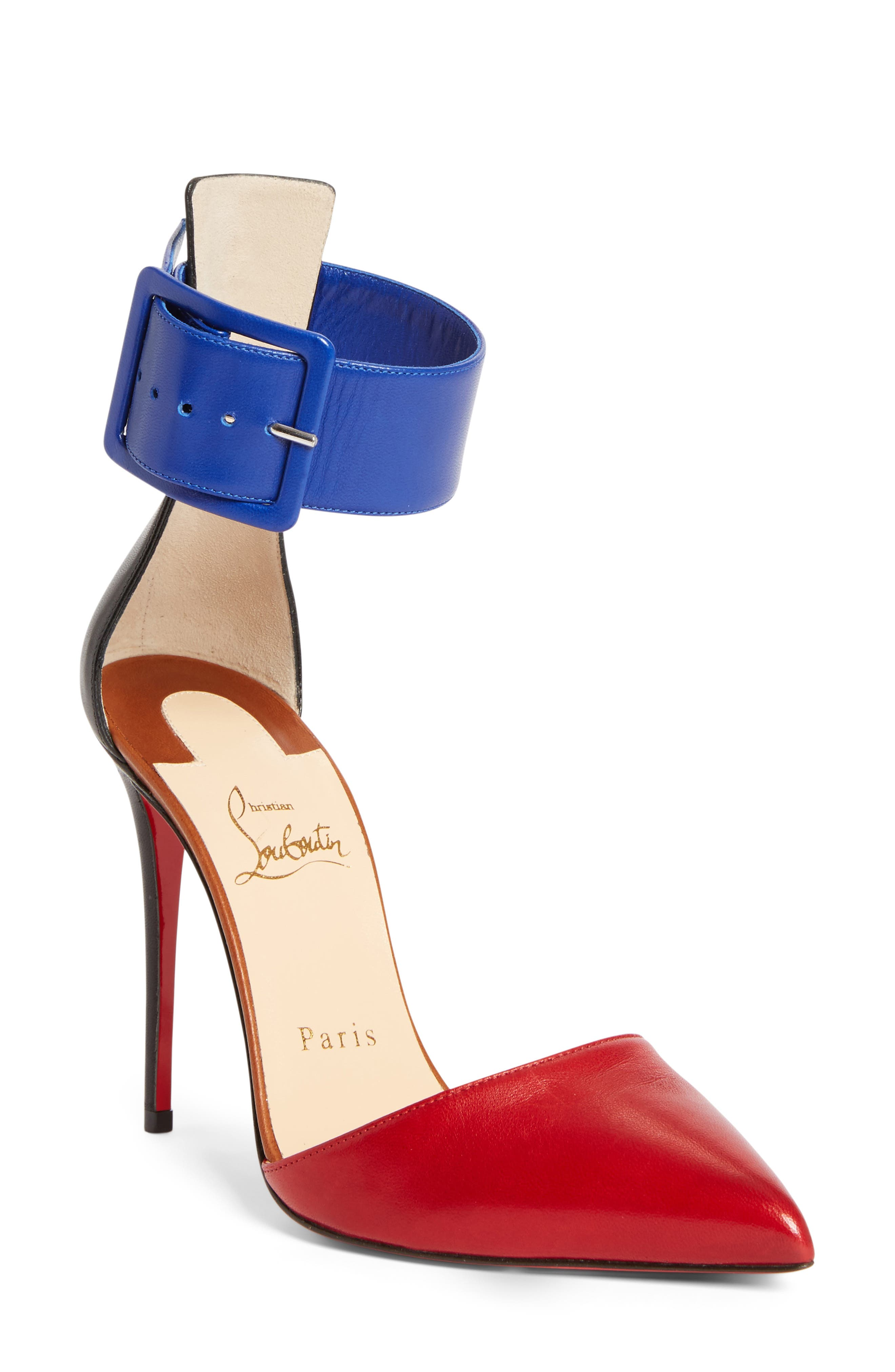 Harler Ankle Strap Pump,                             Main thumbnail 1, color,                             Red Multi