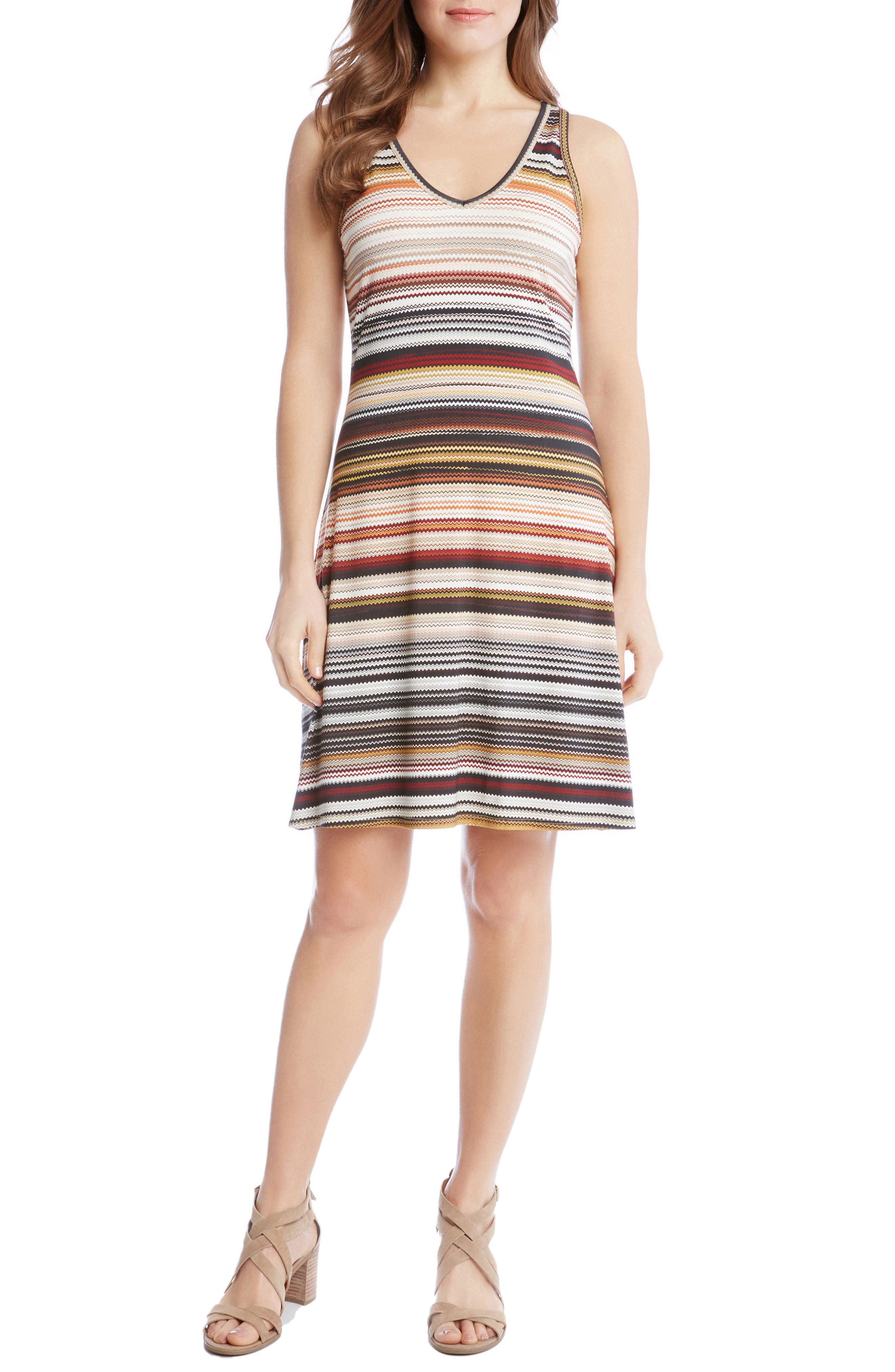 Alternate Image 1 Selected - Karen Kane Brigitte Zigzag Stripe Dress