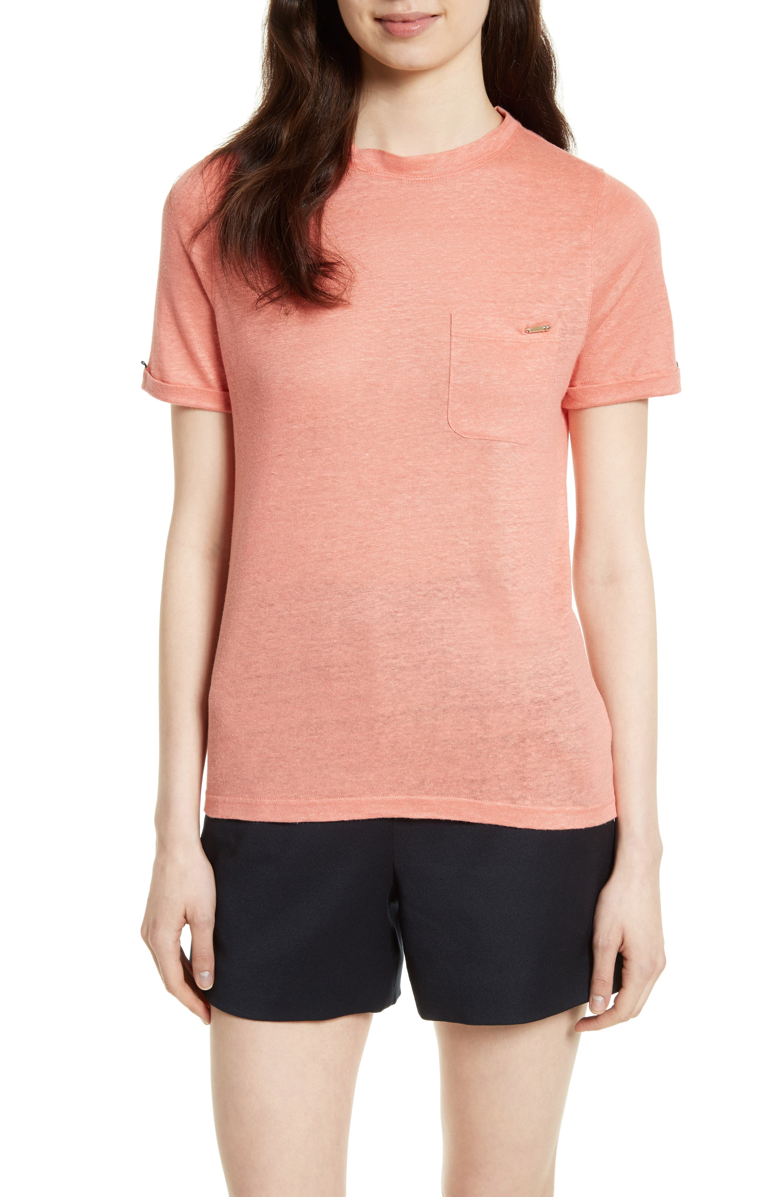 Harlaa Square Cut Linen Tee,                         Main,                         color, Coral