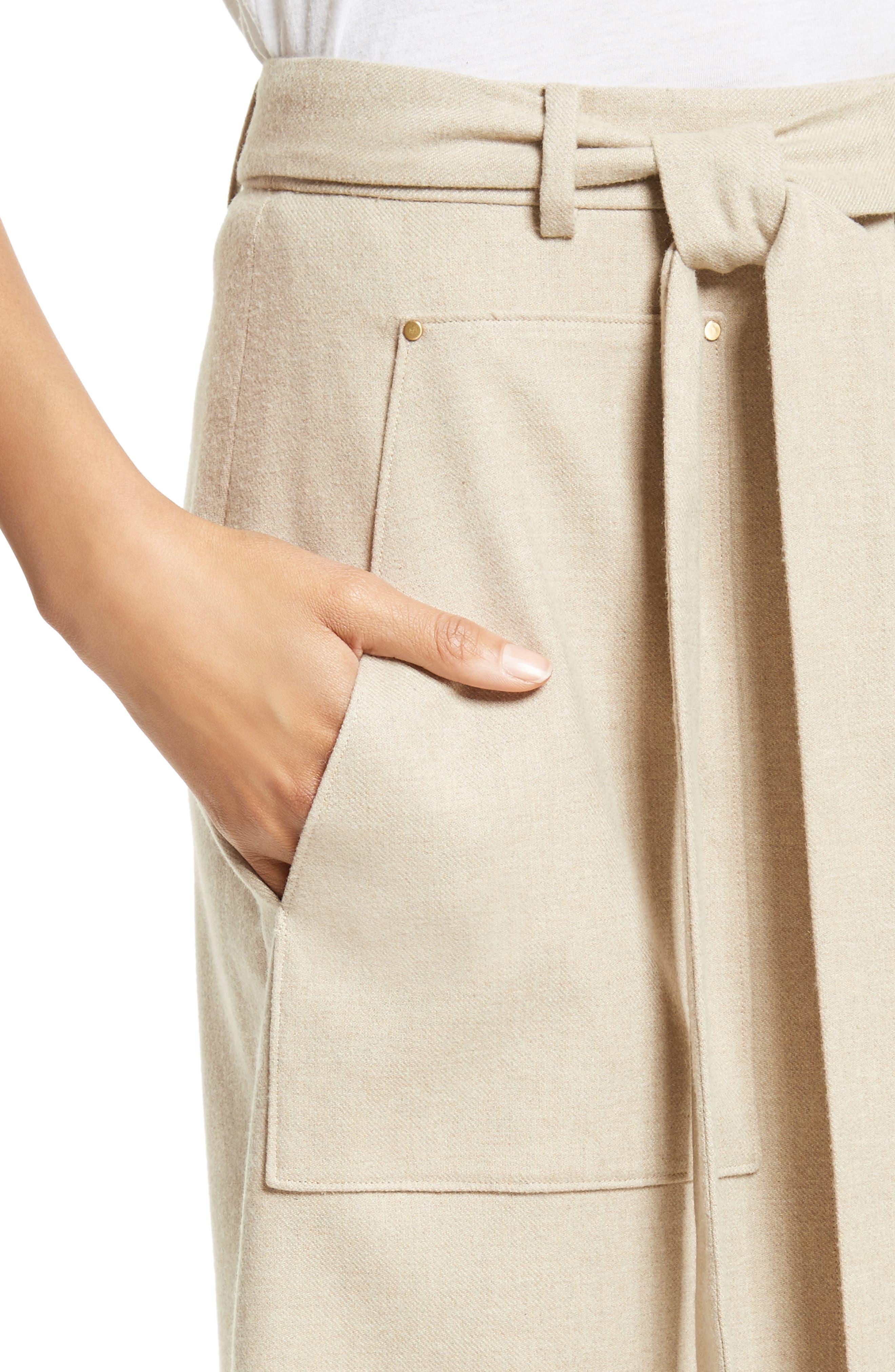 Wilson Twill Midi Skirt,                             Alternate thumbnail 5, color,                             Oatmeal