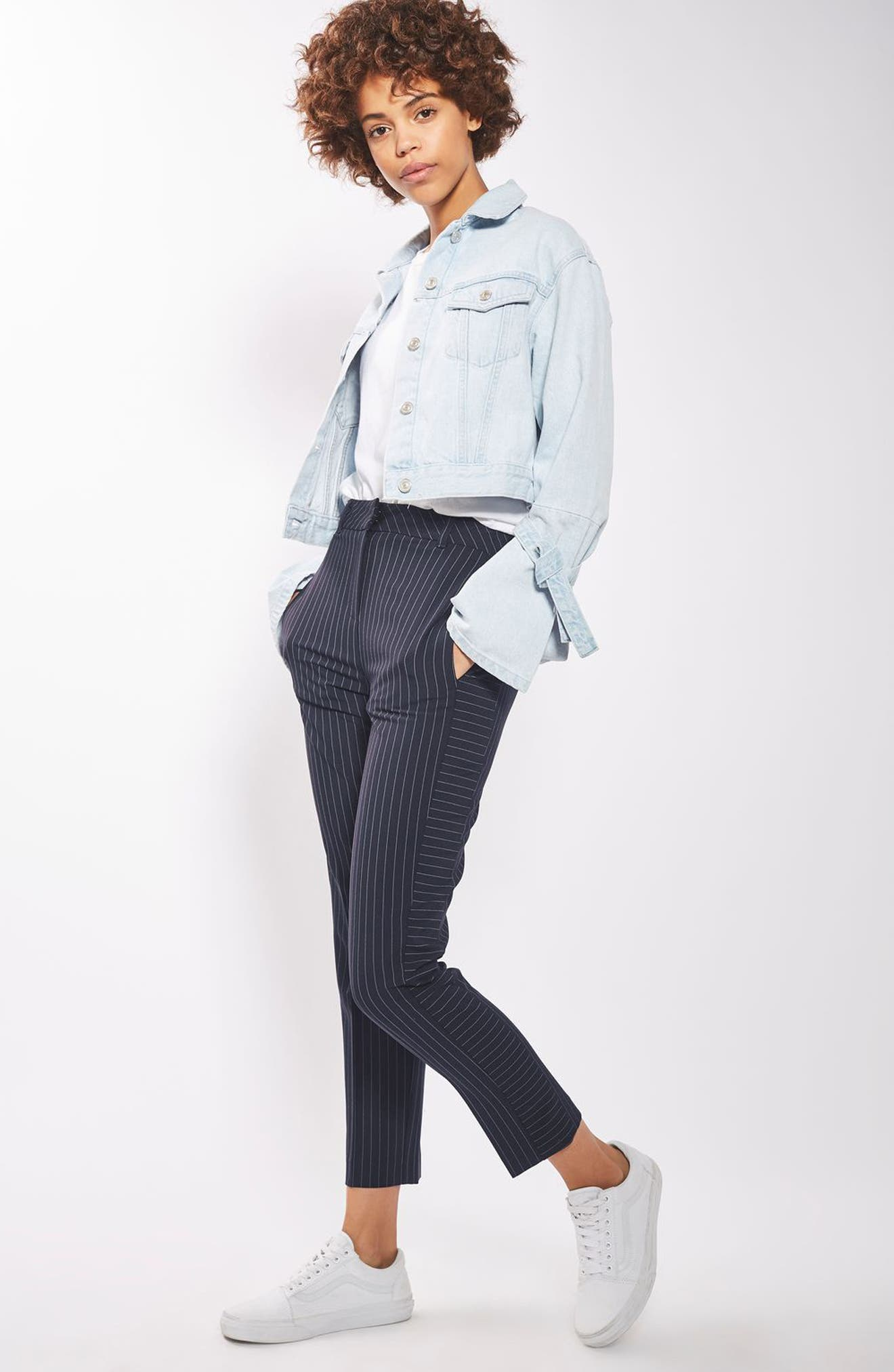 Cut About Pinstripe Cigarette Trousers,                             Alternate thumbnail 2, color,                             Navy Blue