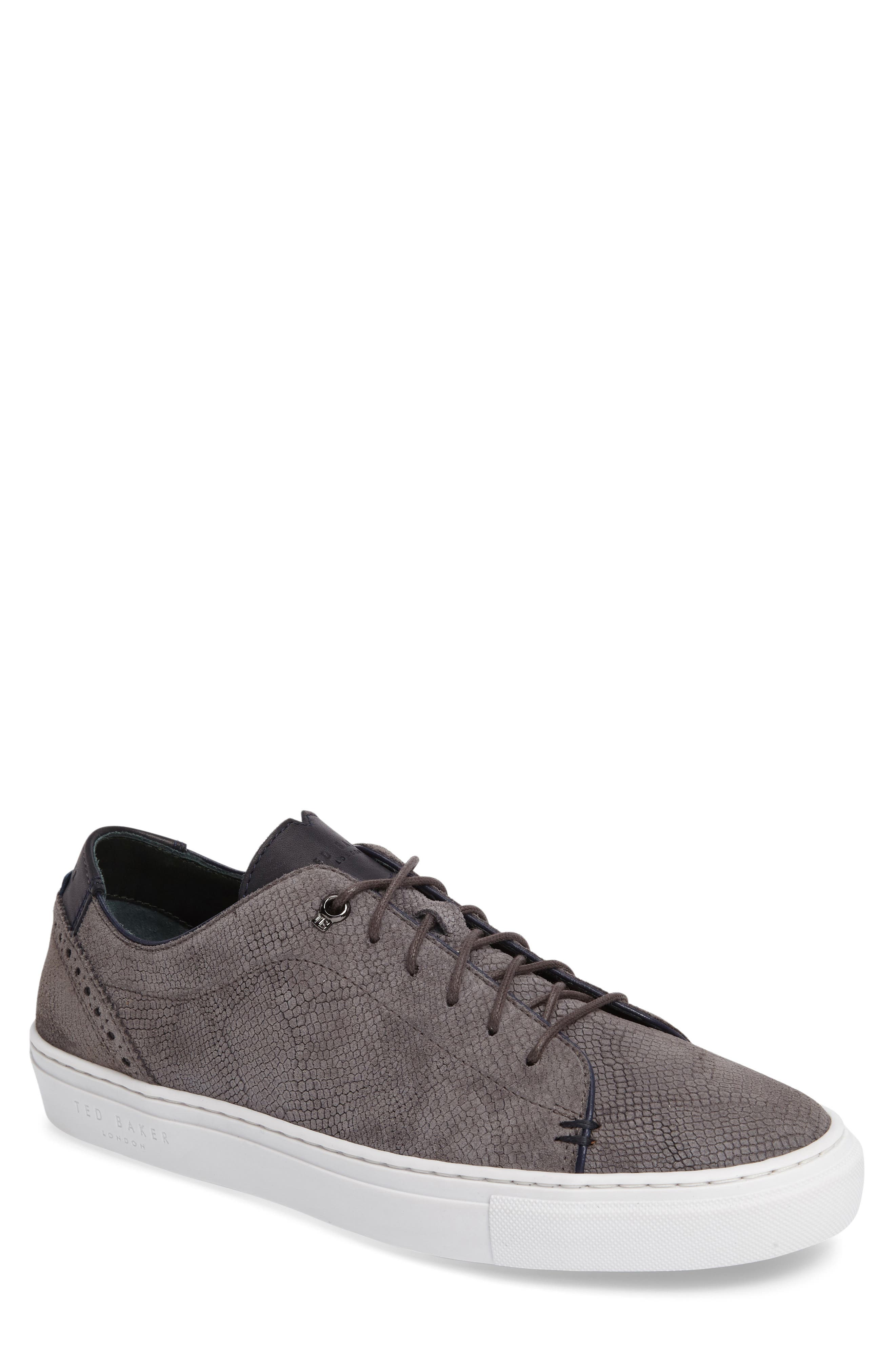 Duke Snake Embossed Sneaker,                         Main,                         color, Dark Grey Suede