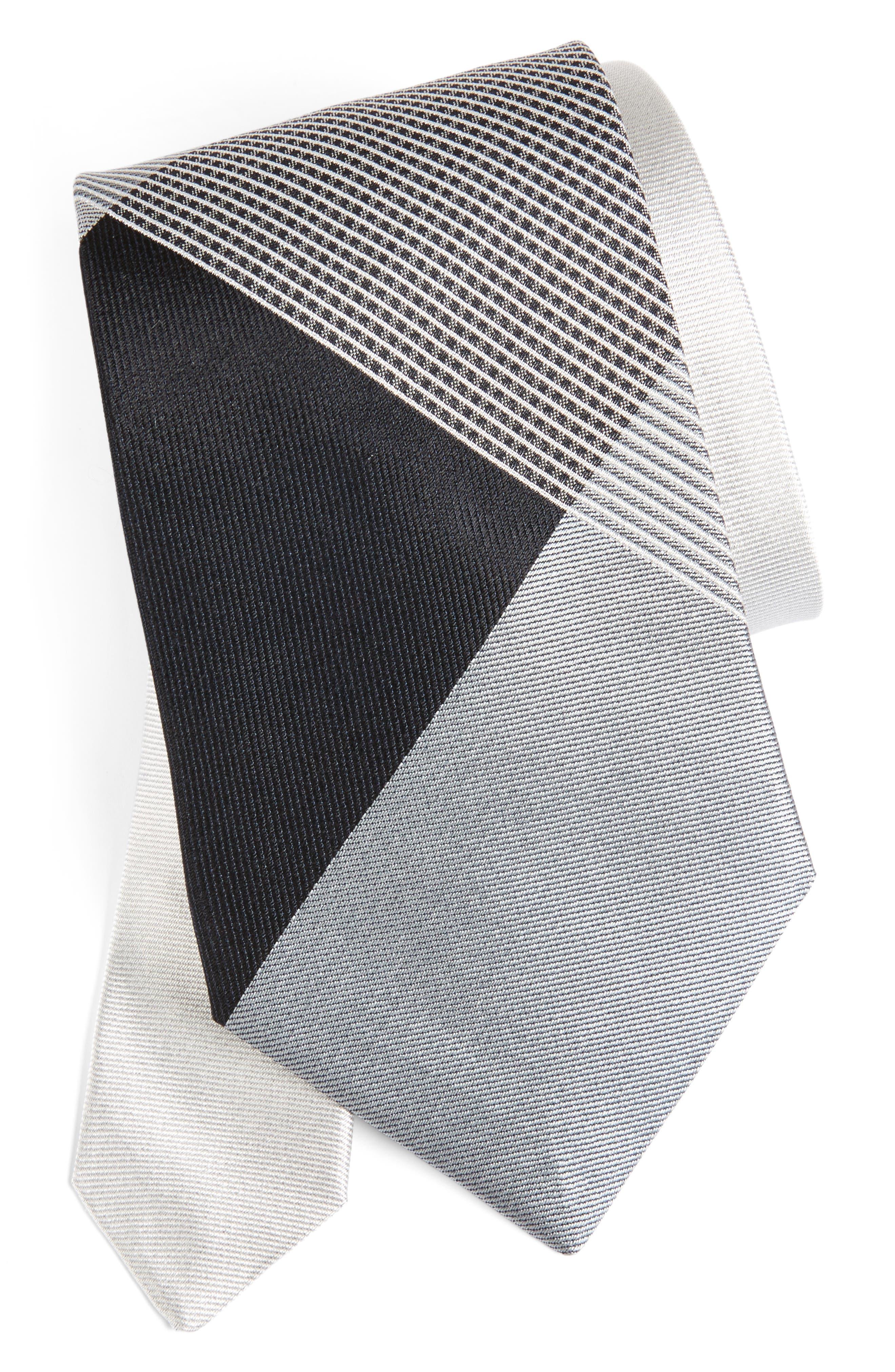 Clinton Check Silk Tie,                         Main,                         color, Steel Grey