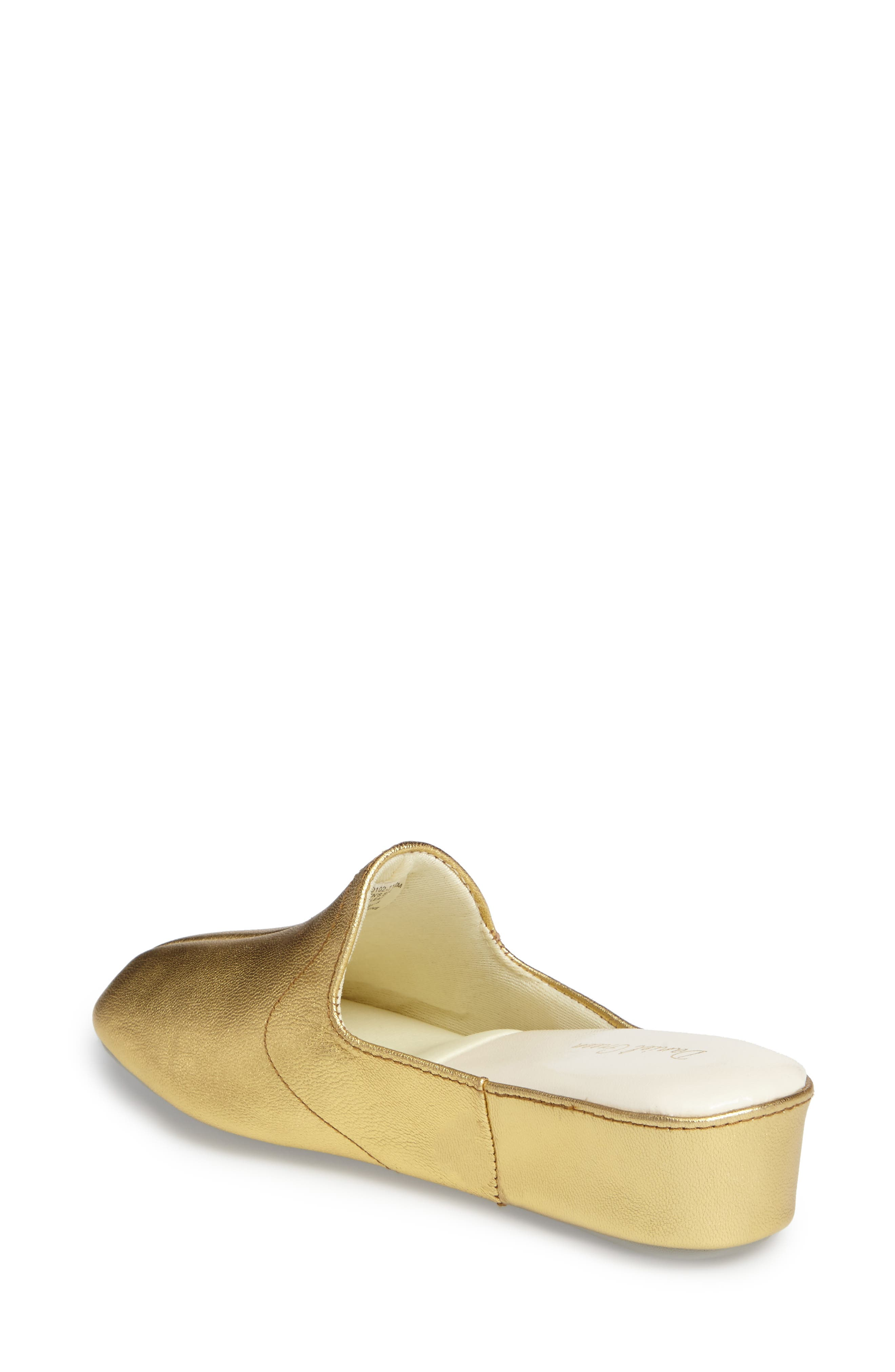 Glamour Scuff Slipper,                             Alternate thumbnail 2, color,                             Gold Leather