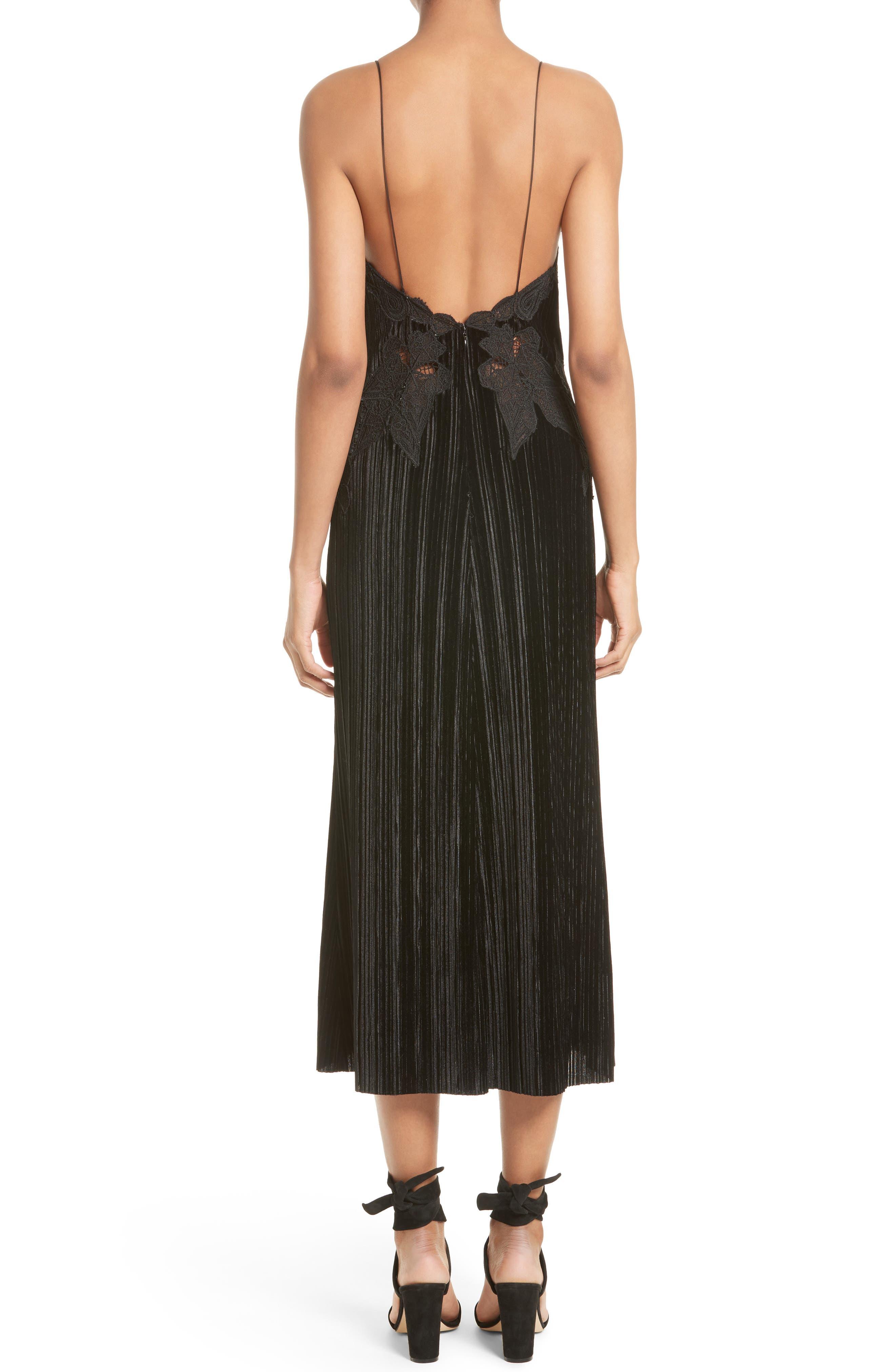 Lace Appliqué Crinkled Velvet Dress,                             Alternate thumbnail 2, color,                             Black