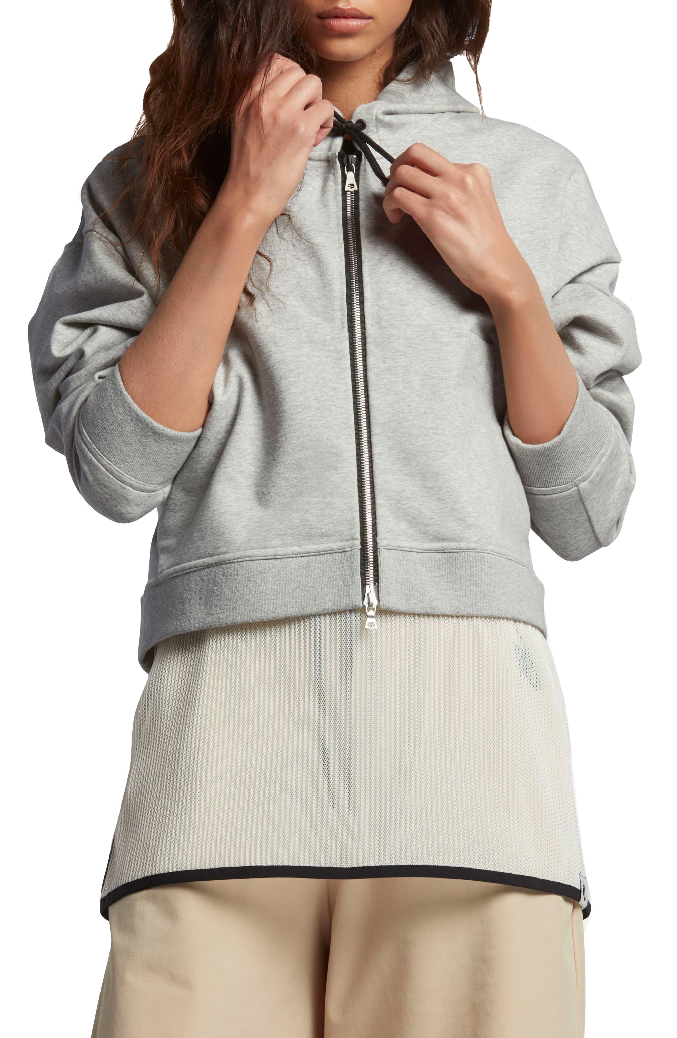 Lab Essentials Crop Hoodie,                         Main,                         color, Grey Heather/ Pale Grey/ Black