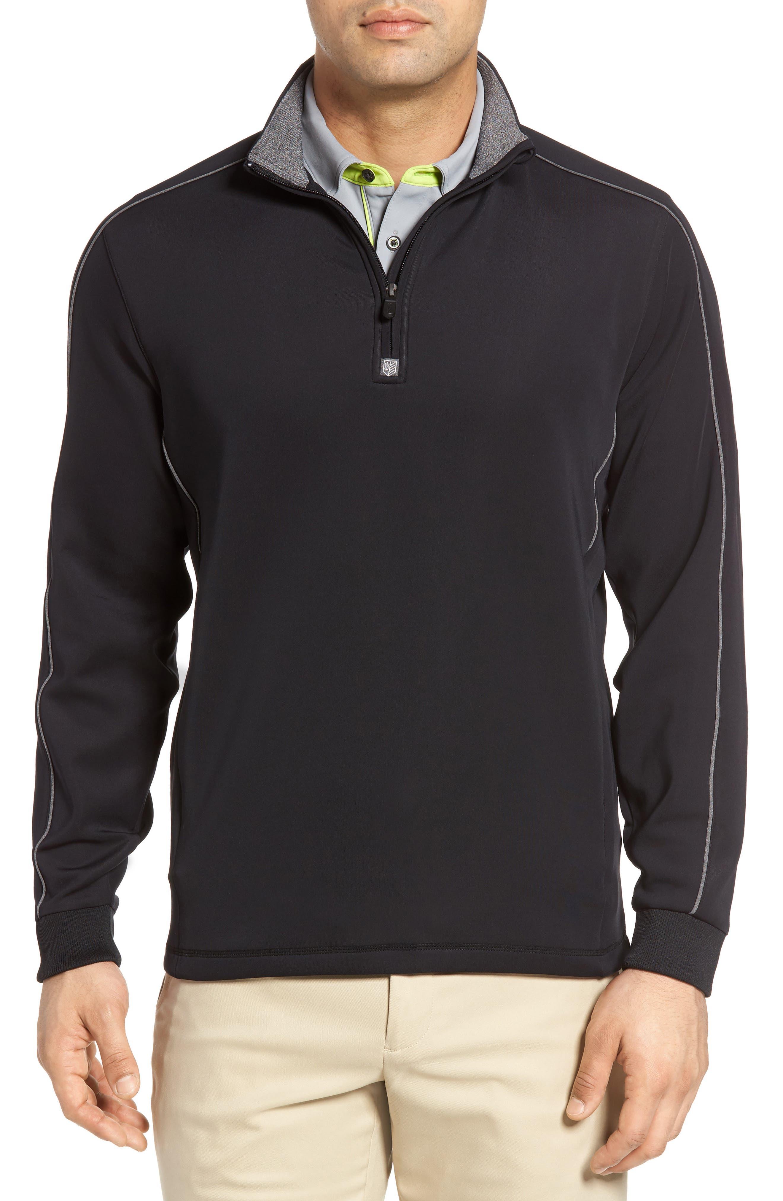 Tech Quarter Zip Pullover,                             Main thumbnail 1, color,                             Black