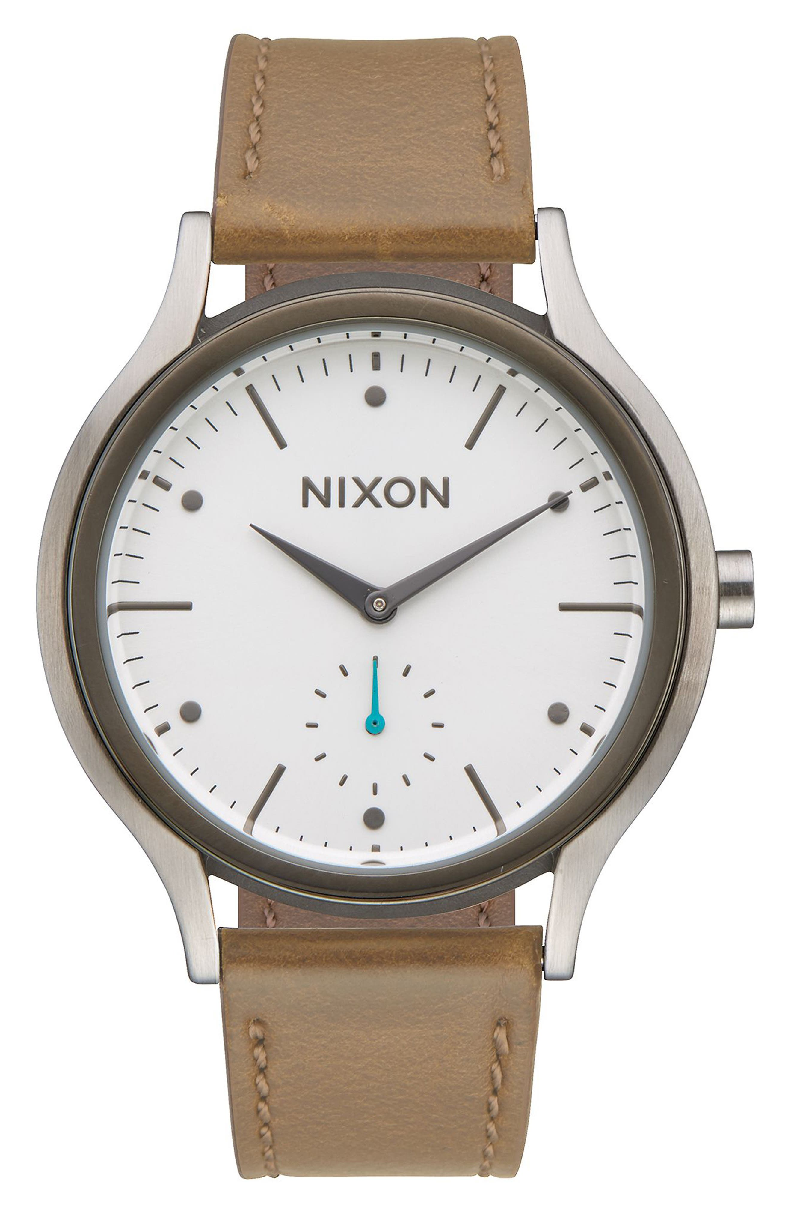 Sala Leather Strap Watch, 38mm,                         Main,                         color, Tan/ White/ Silver