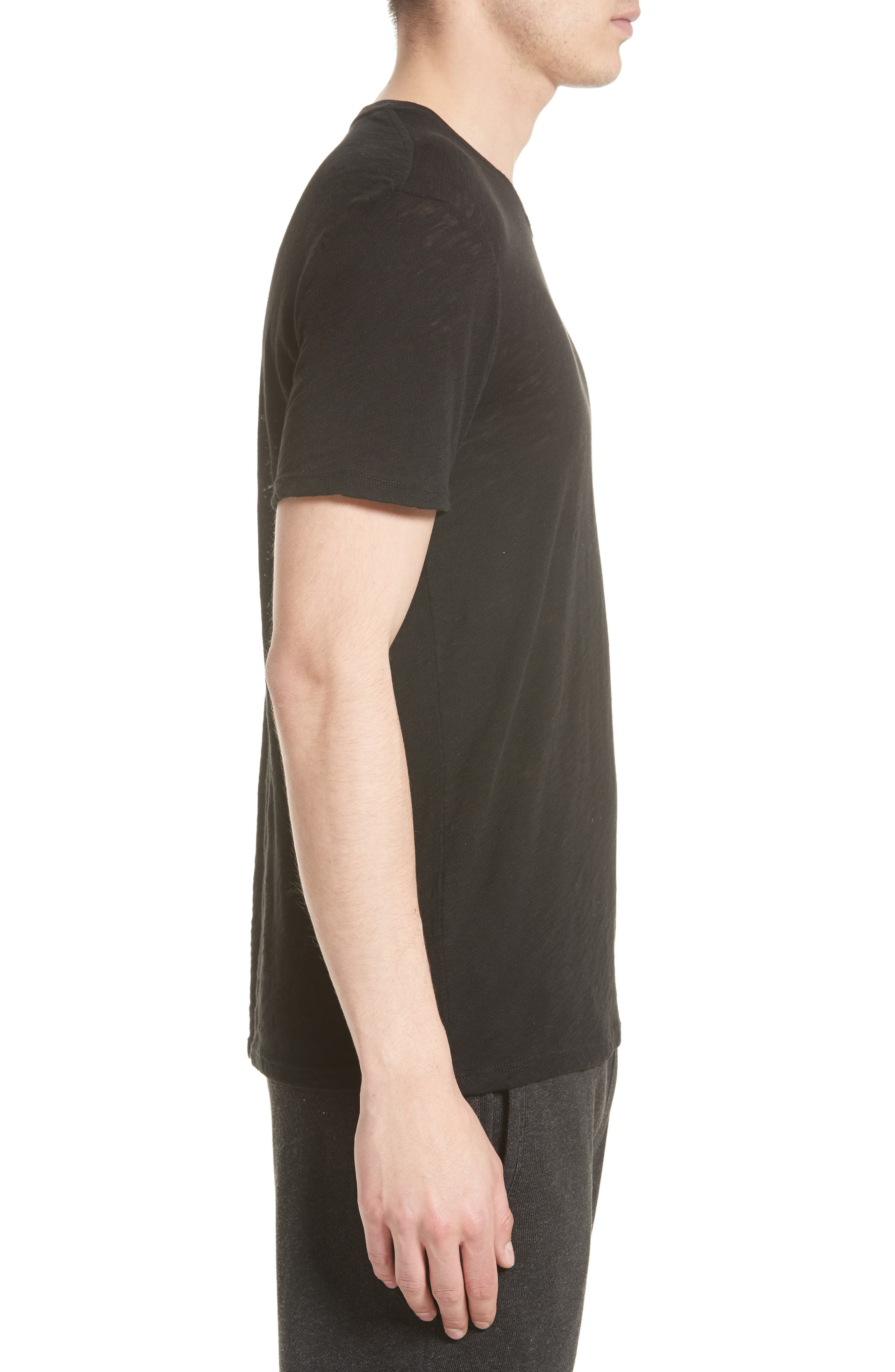 Crewneck T-Shirt,                             Alternate thumbnail 3, color,                             Black
