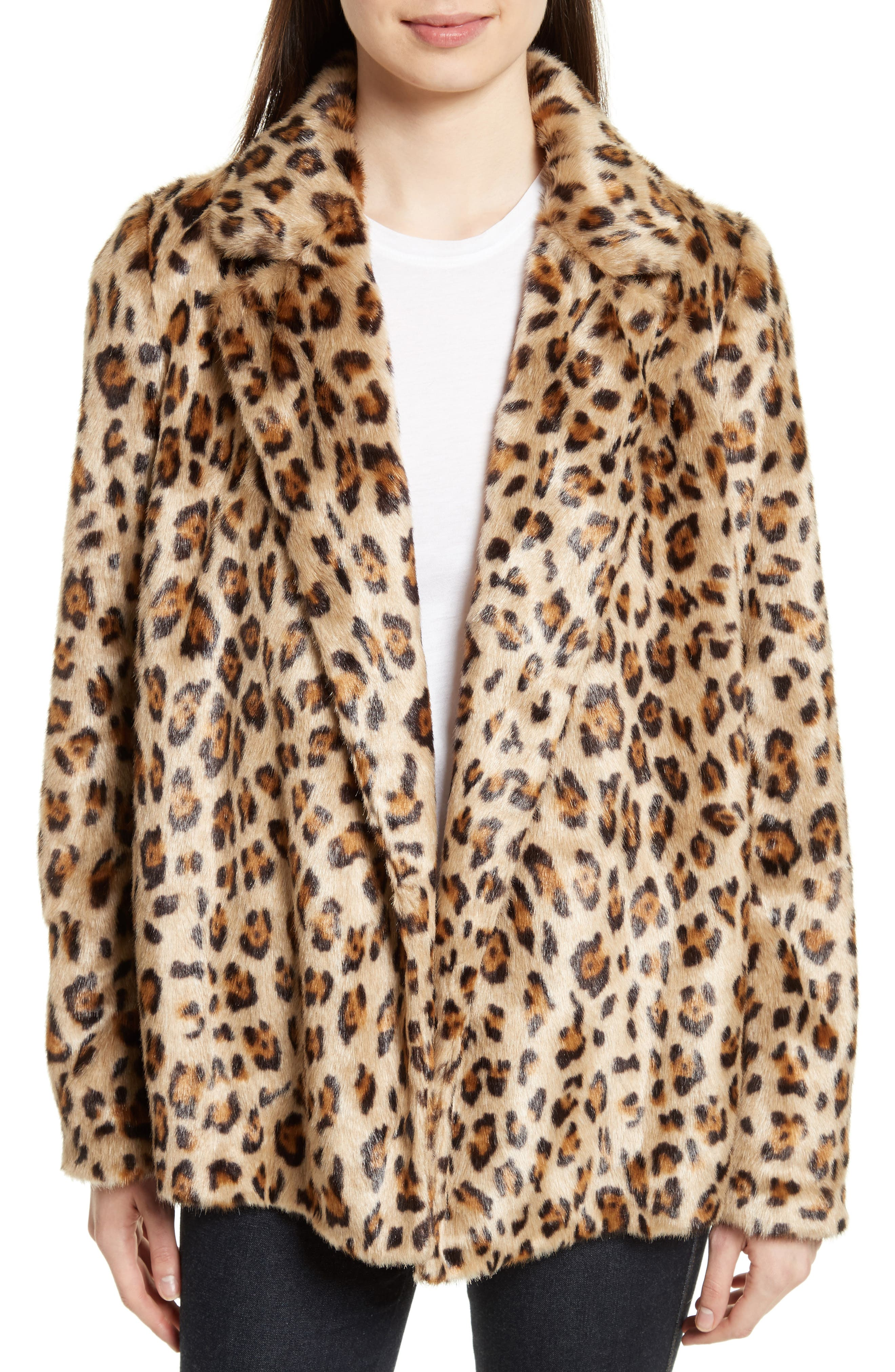 Theory Clairene Leopard Print Faux Fur Coat