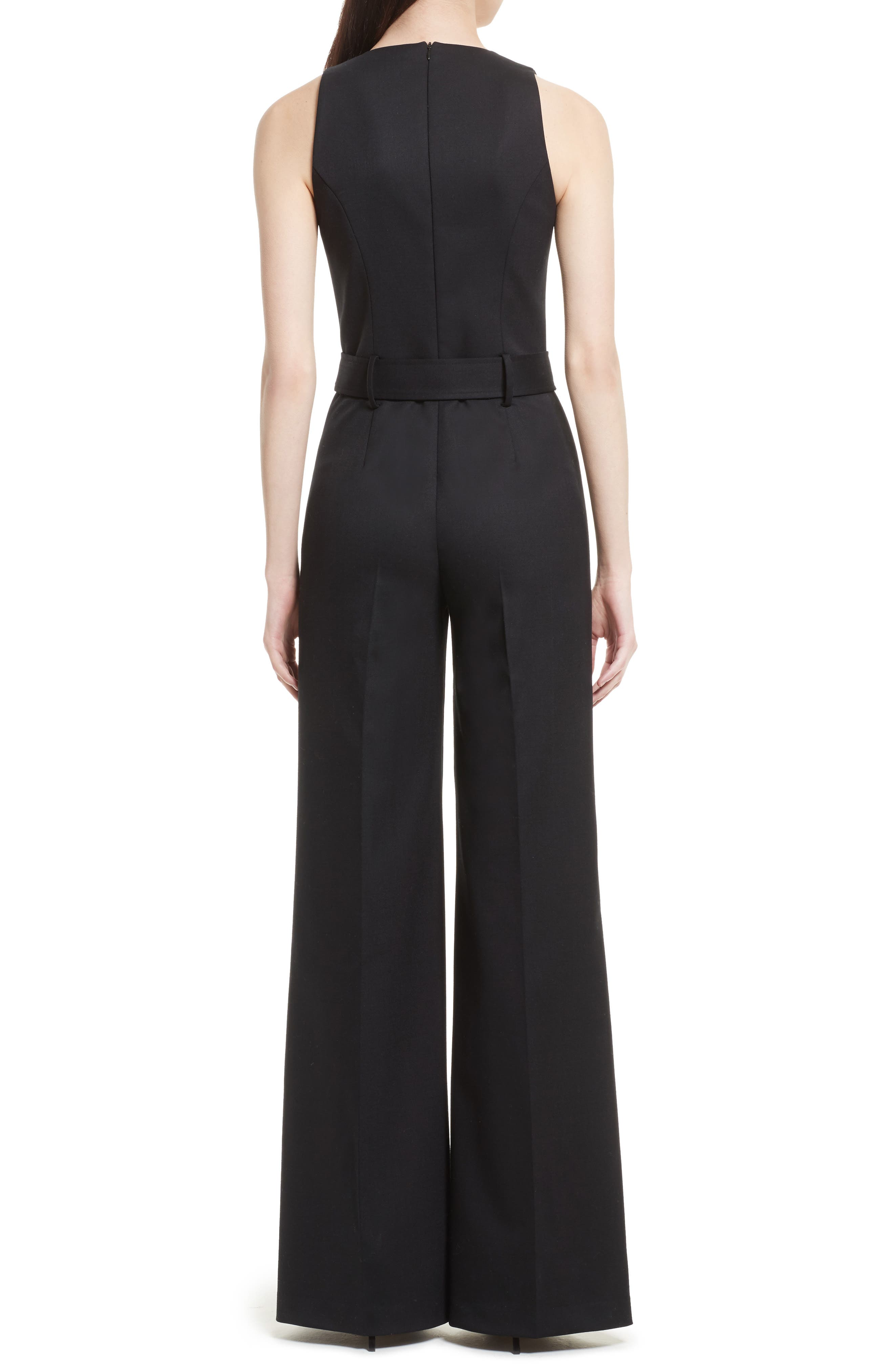 Tuxedo Wool Belted Jumpsuit,                             Alternate thumbnail 2, color,                             Black