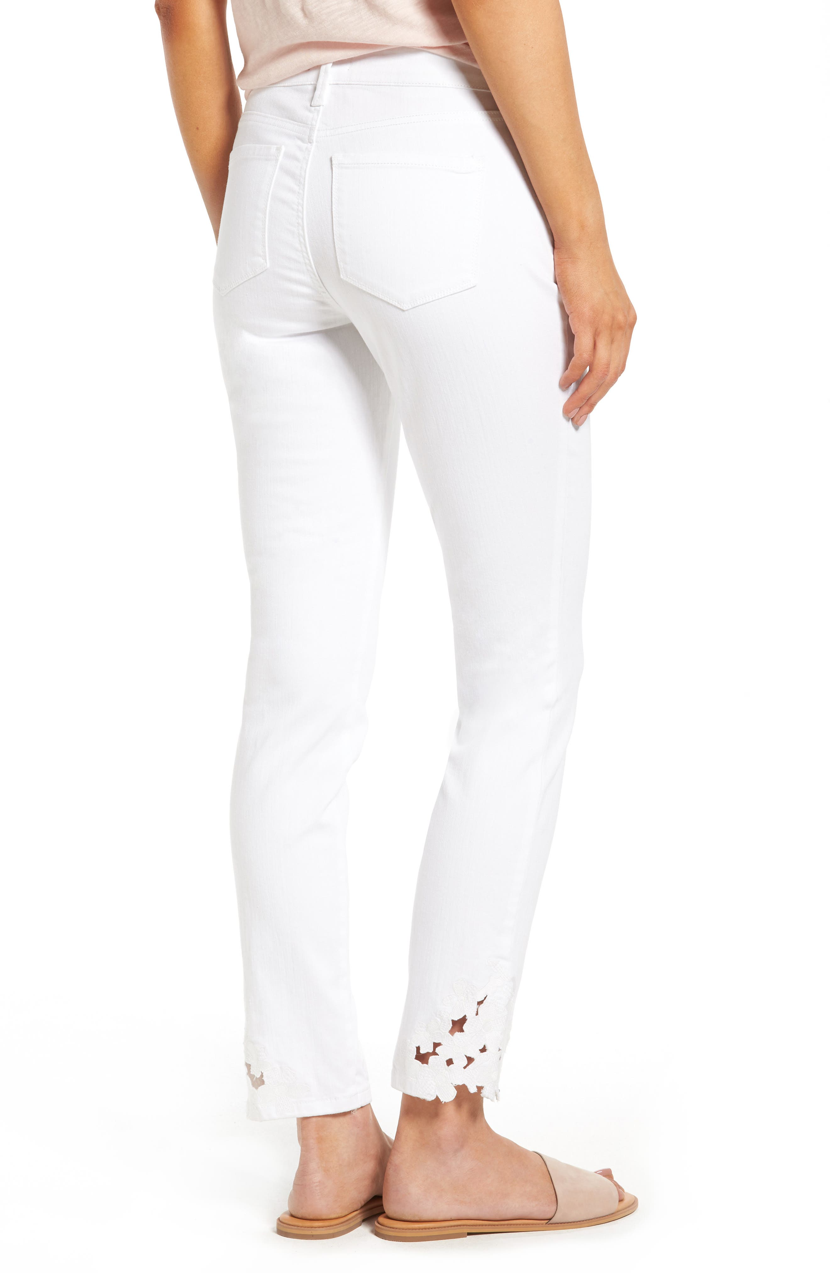 Alina Eyelet Hem Stretch Skinny Jeans,                             Alternate thumbnail 3, color,                             Optic White