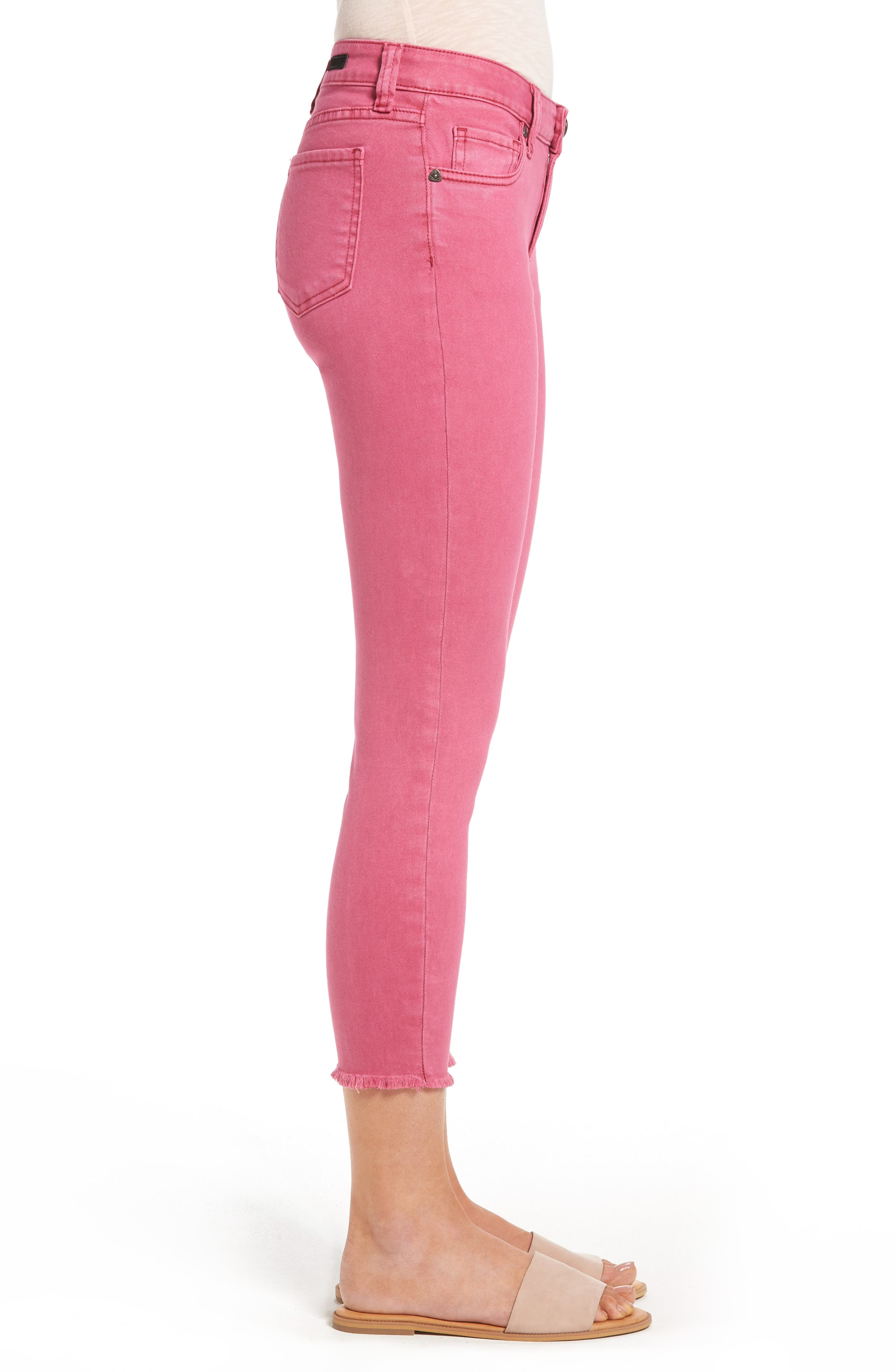 Alternate Image 3  - KUT from the Kloth Connie Frayed Hem Crop Skinny Jeans (Hot Pink)