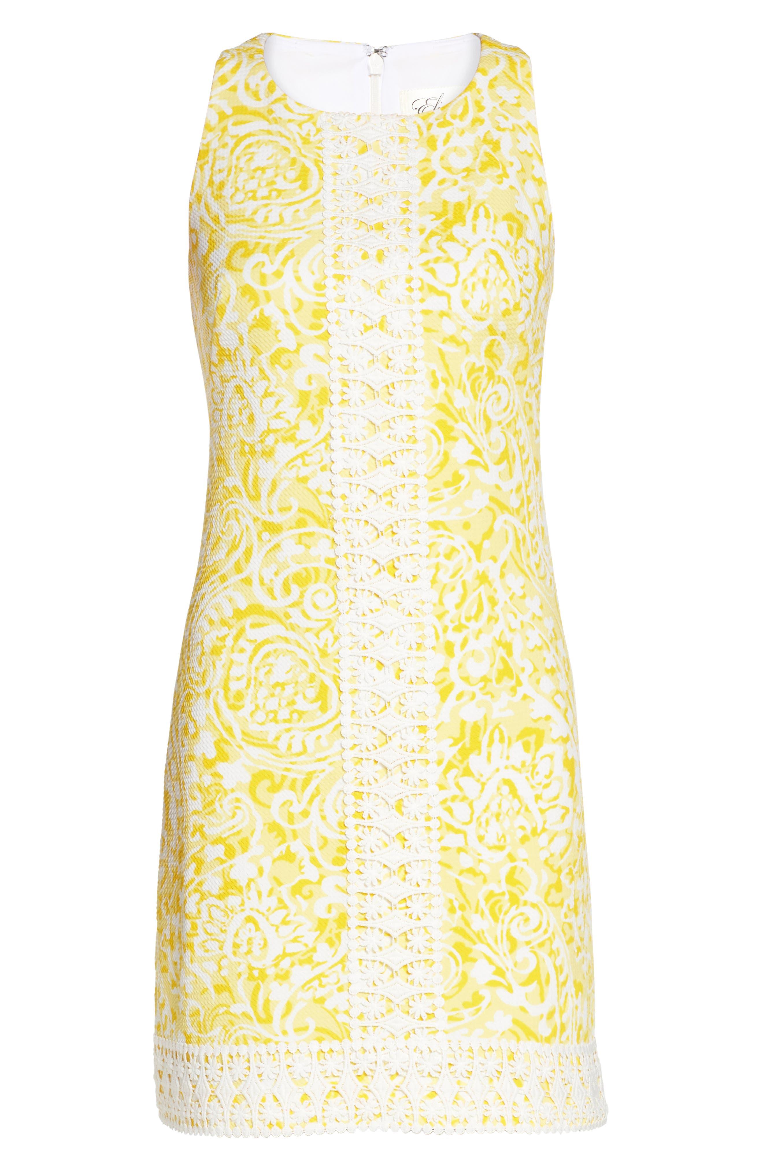 Print Shift Dress,                             Alternate thumbnail 6, color,                             Yellow