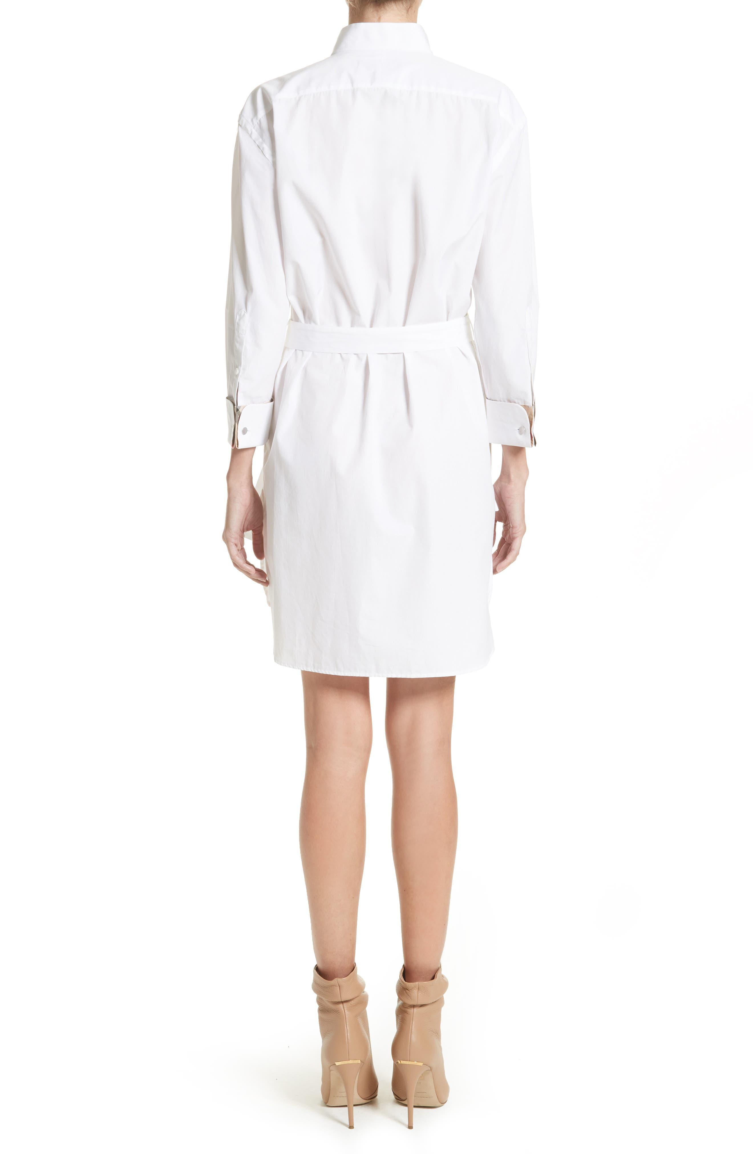 Madeline Cotton Poplin Shirtdress,                             Alternate thumbnail 2, color,                             White