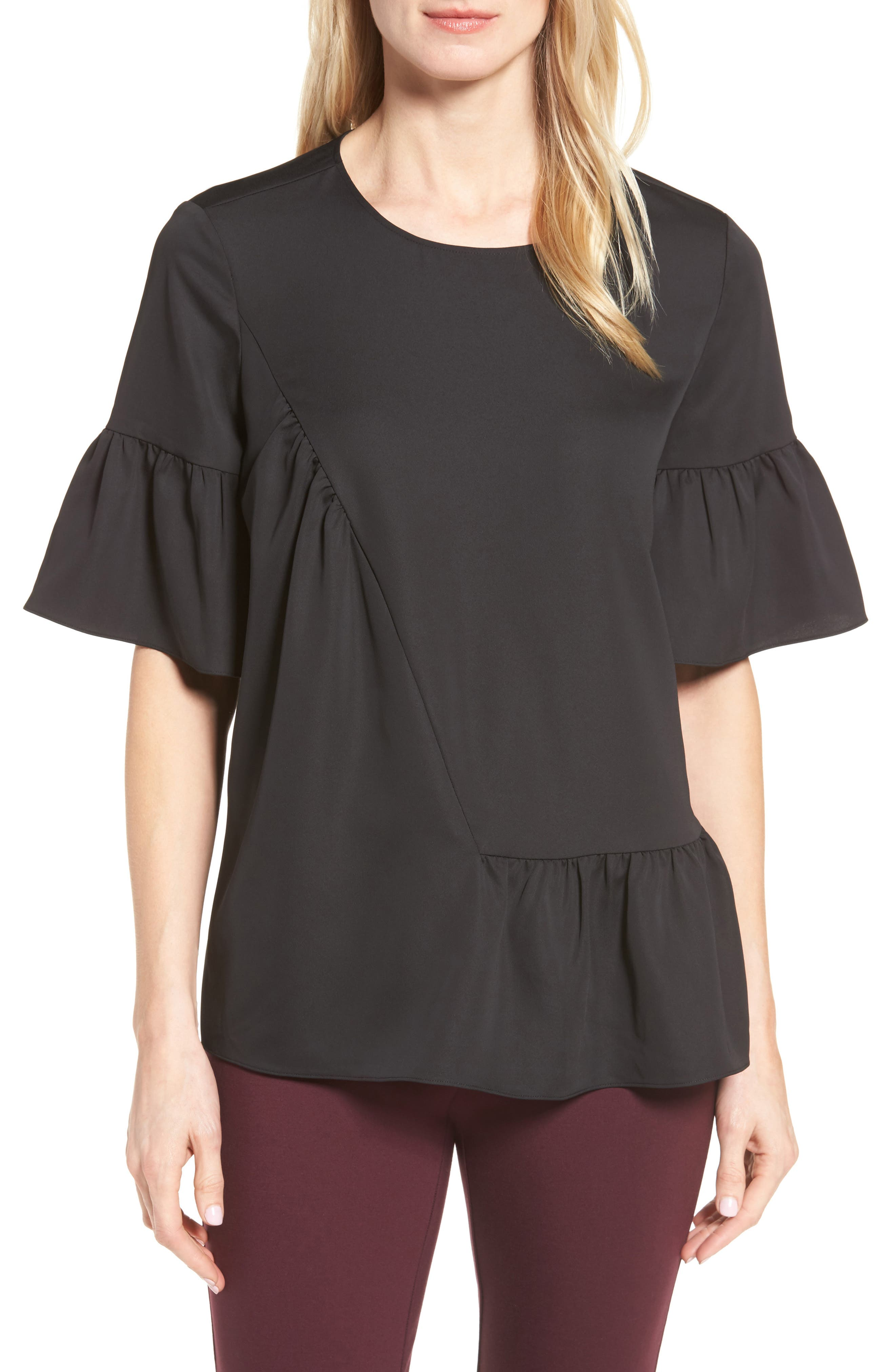 Halogen® Ruffle Sleeve Top (Regular & Petite)