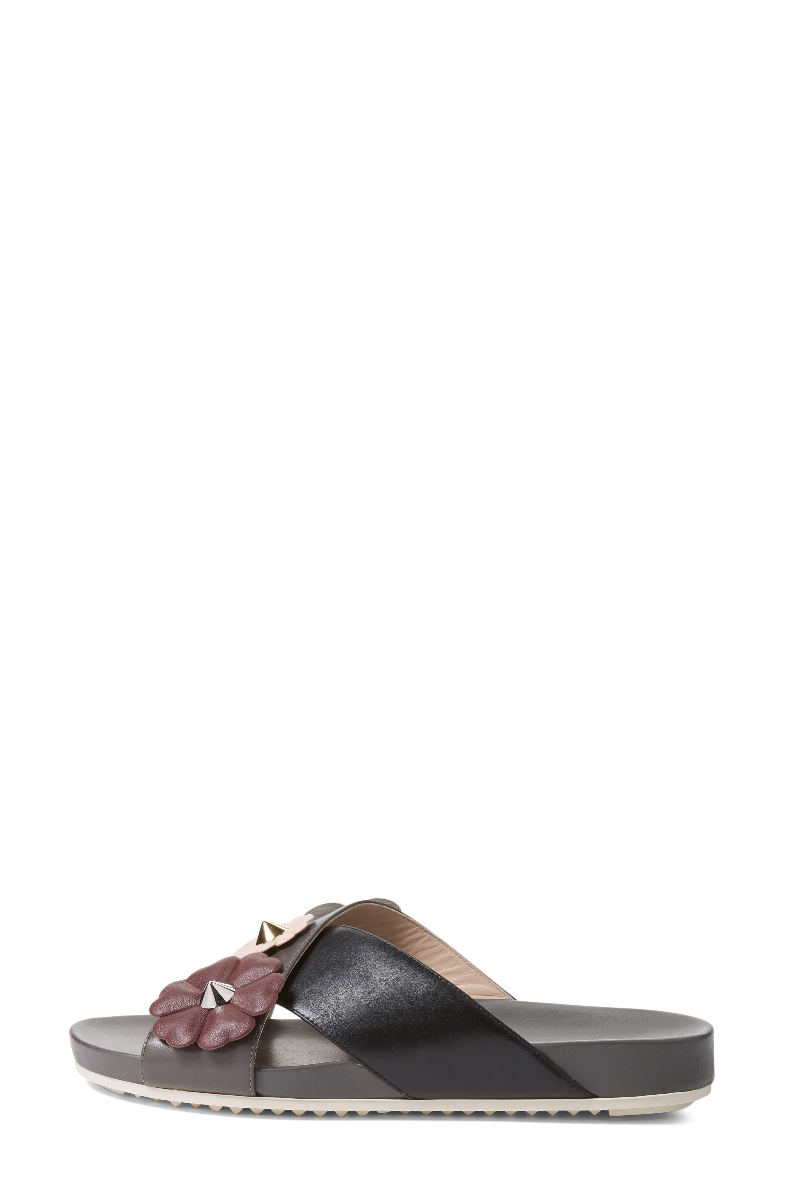 Flowerland Slide Sandal,                             Alternate thumbnail 3, color,                             Black/ Purple