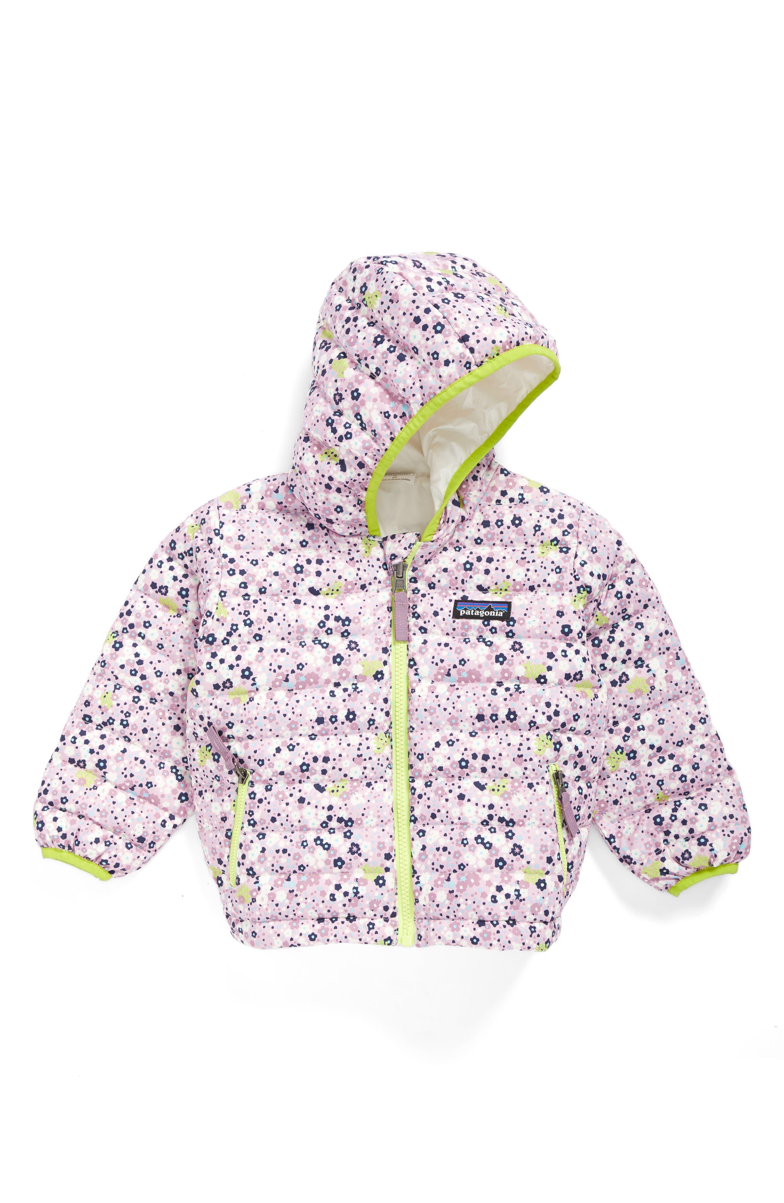 Main Image - Patagonia Reversible Down Sweater Hoodie (Baby Girls)