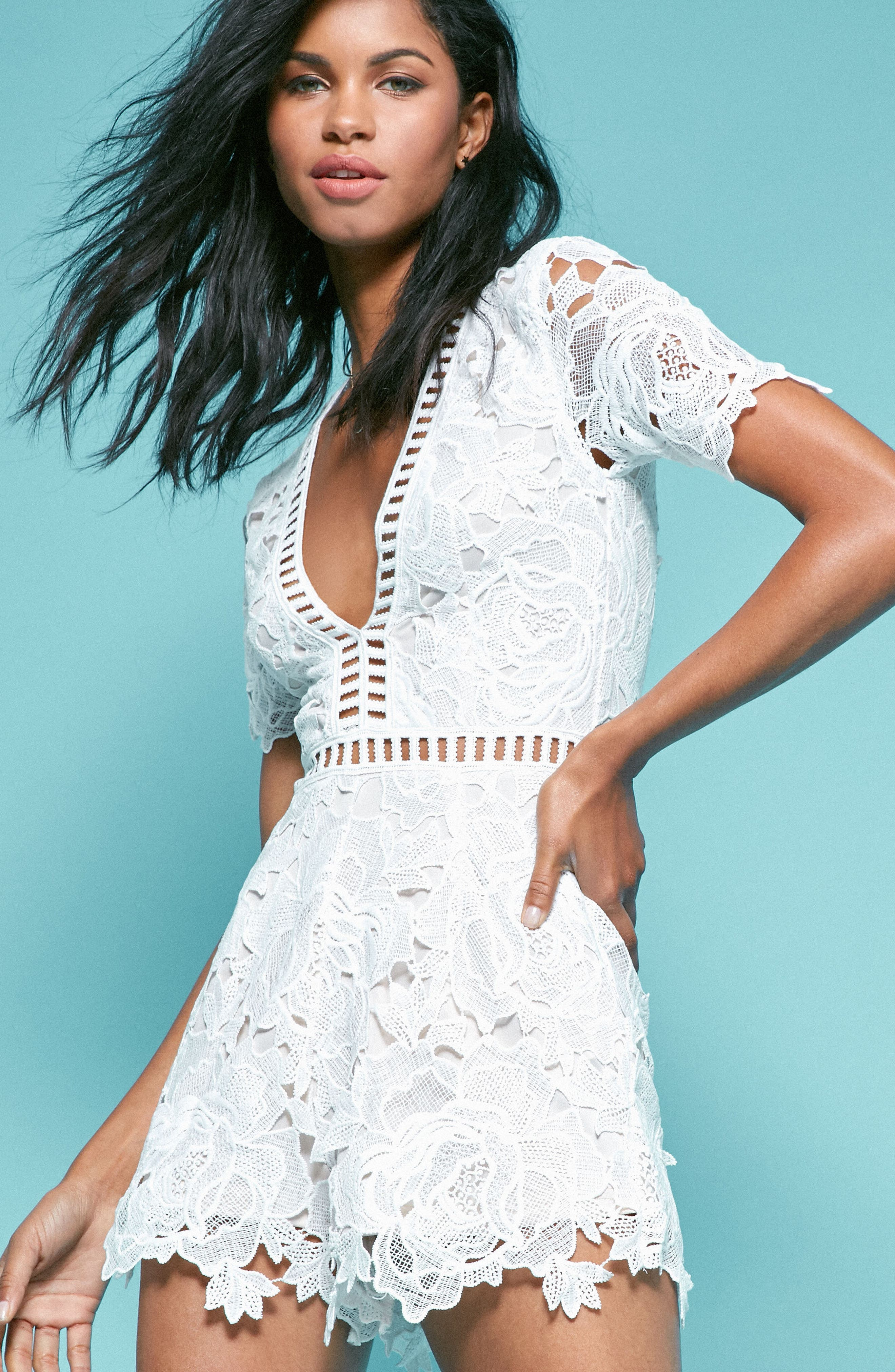 Ladder Inset Lace Romper,                             Alternate thumbnail 2, color,                             White/ Nude