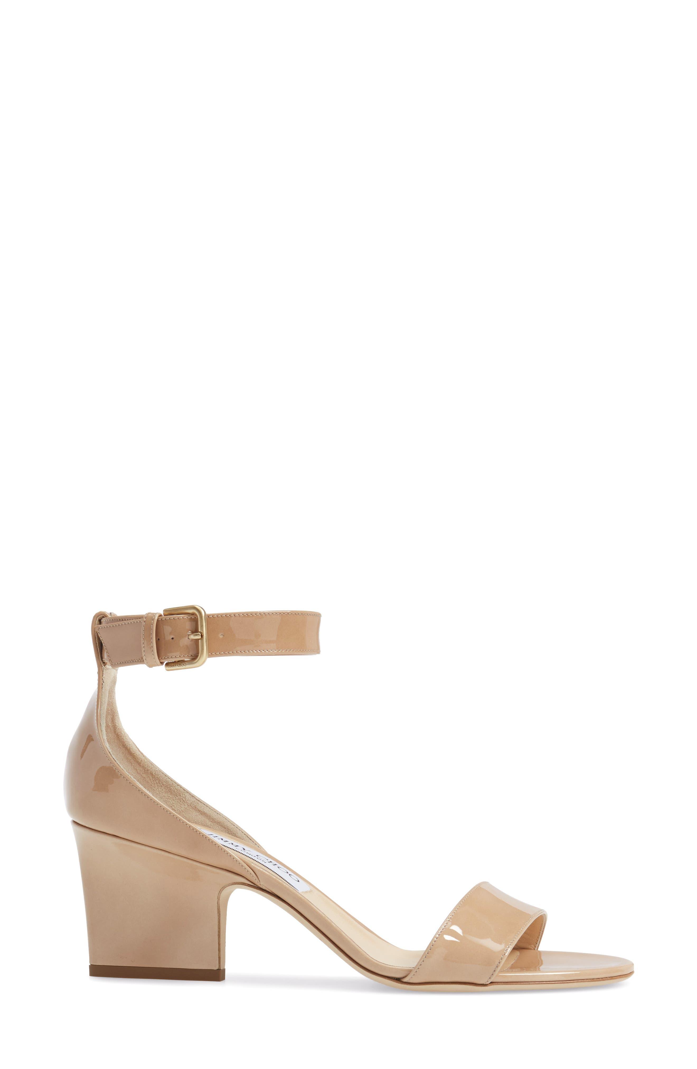 Edina Ankle Strap Sandal,                             Alternate thumbnail 3, color,                             Nude Patent
