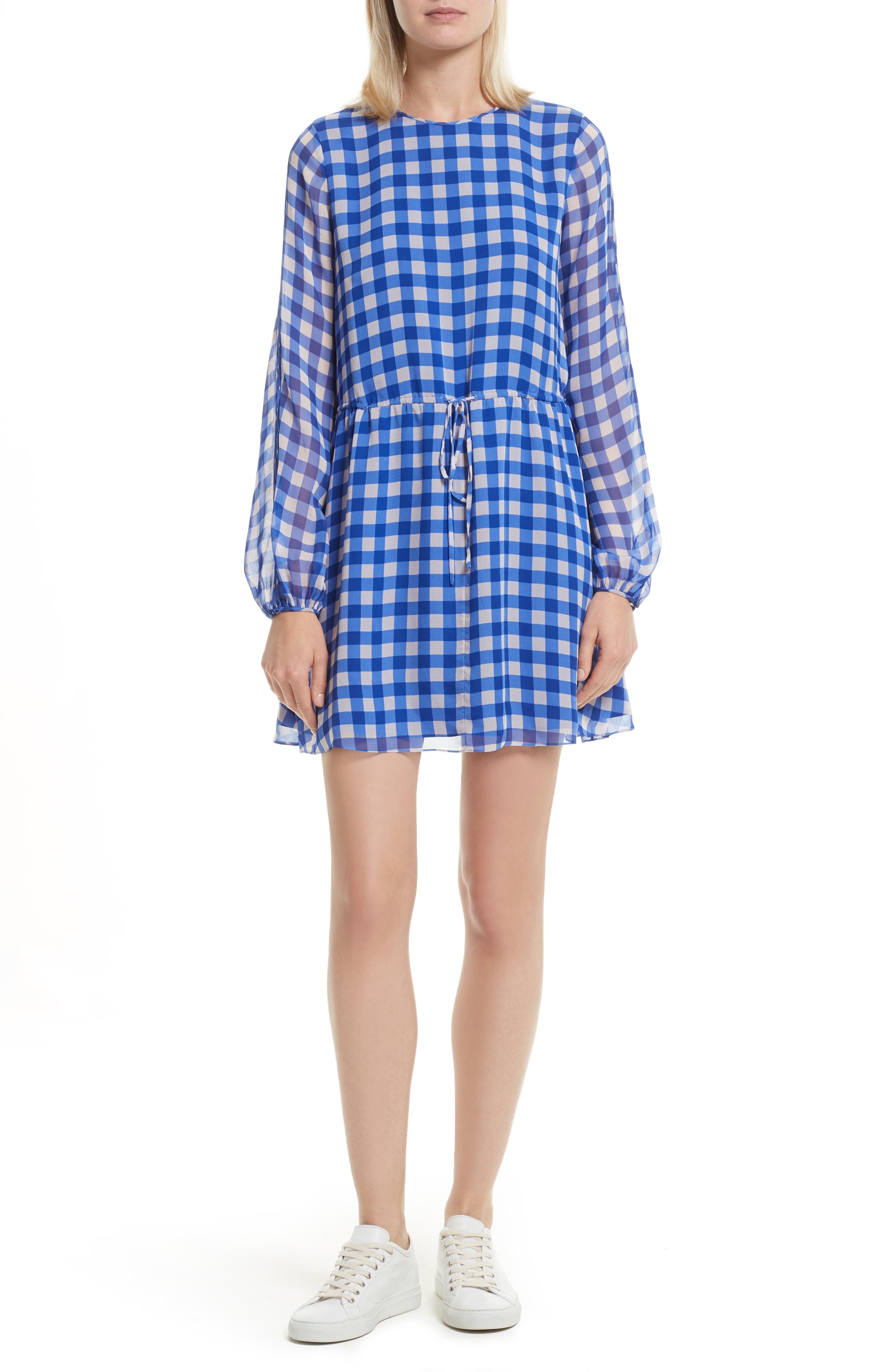 Check Silk Tie Waist Minidress,                         Main,                         color, Klein Blue