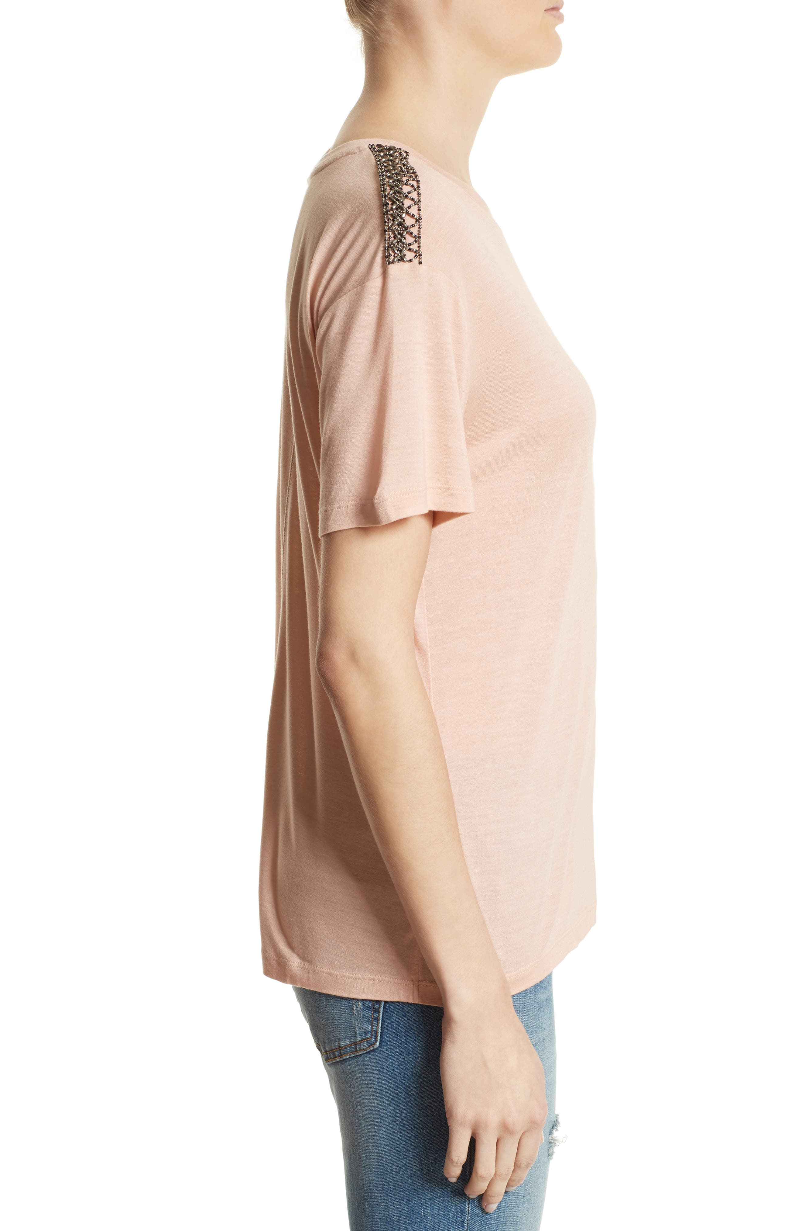 Beaded Tee,                             Alternate thumbnail 3, color,                             Pink