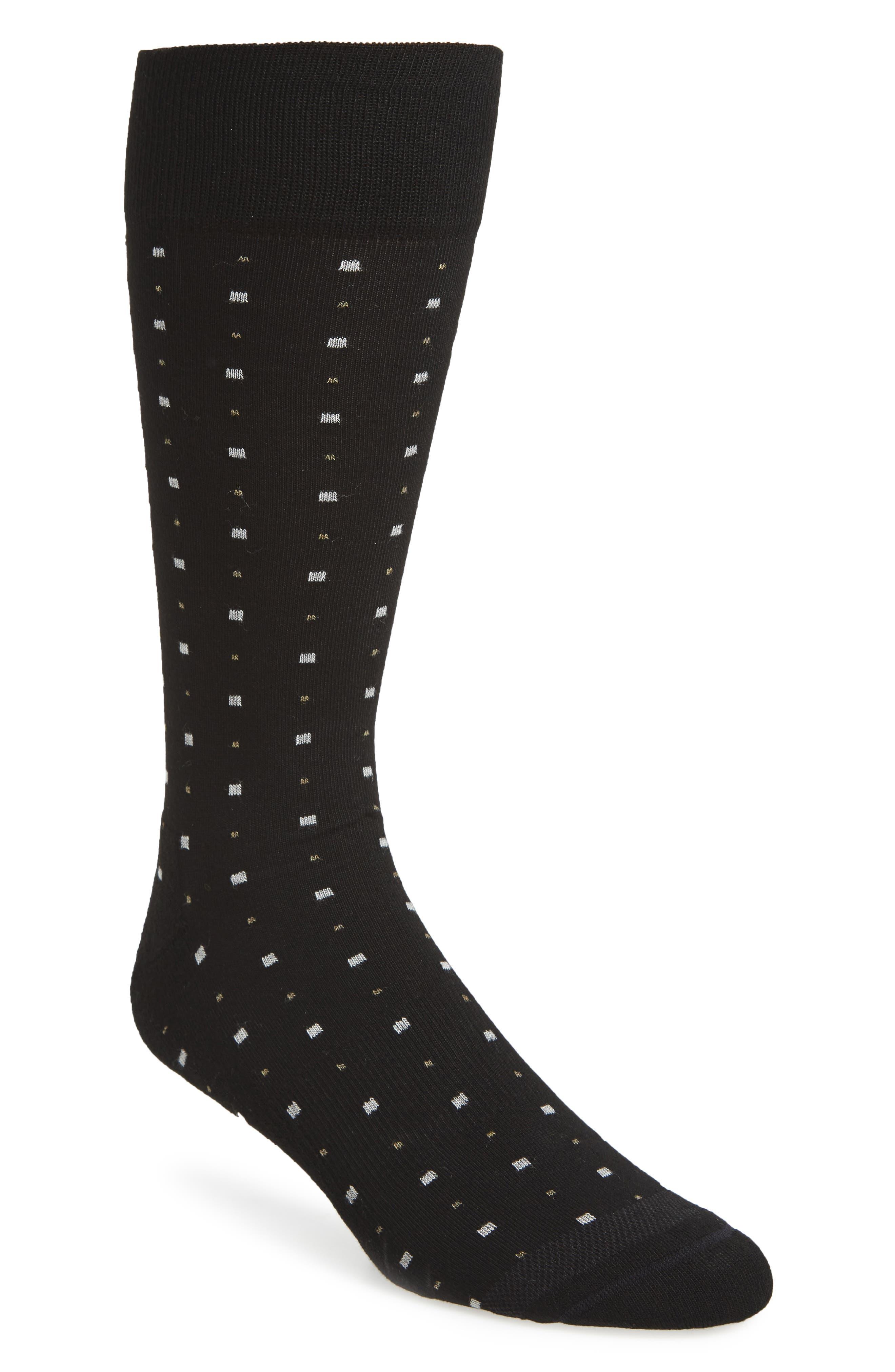 Box Dot Crew Socks,                             Main thumbnail 1, color,                             Black