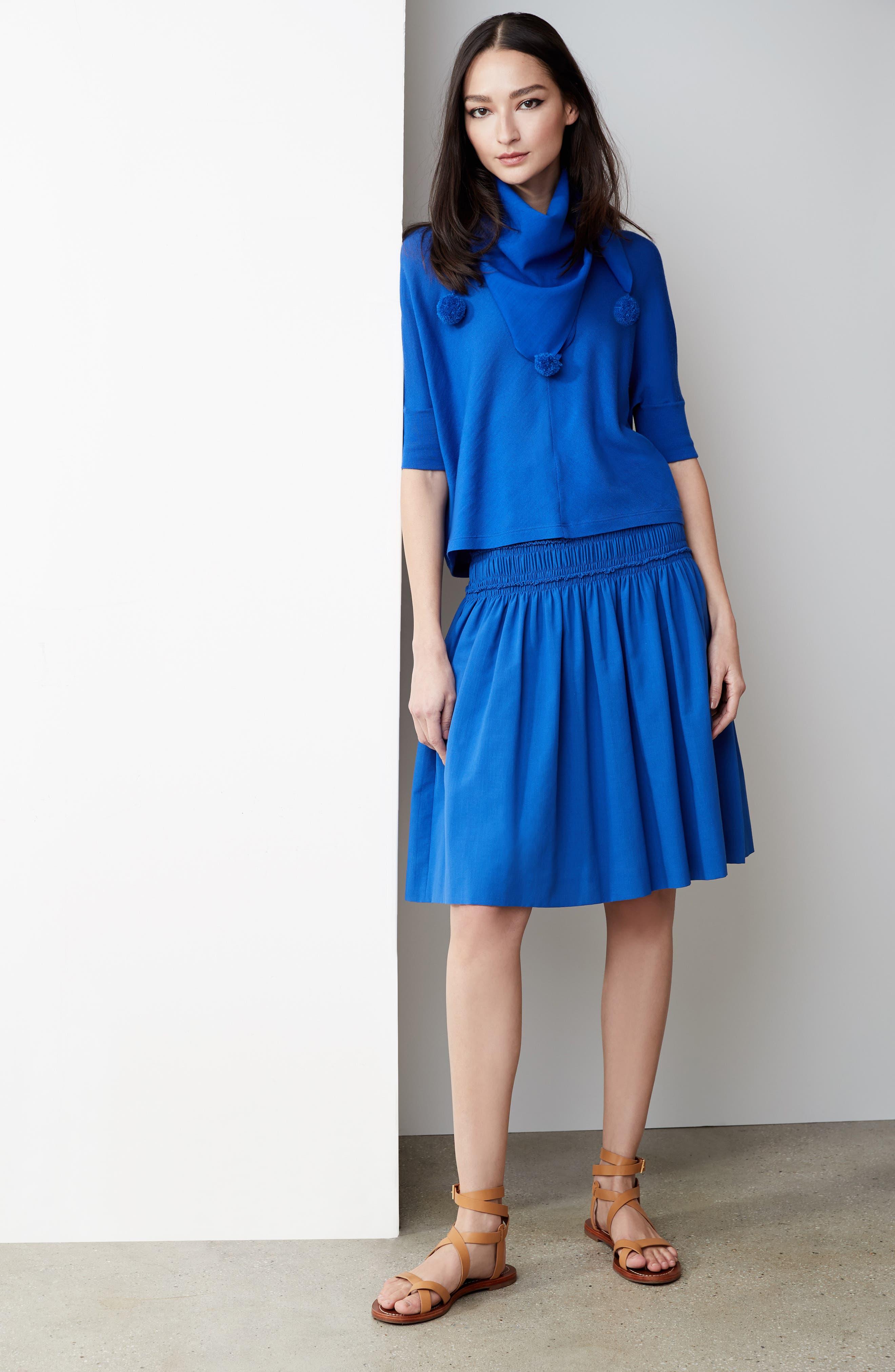 Akris Smocked Ruffle Skirt,                             Alternate thumbnail 8, color,                             Blue