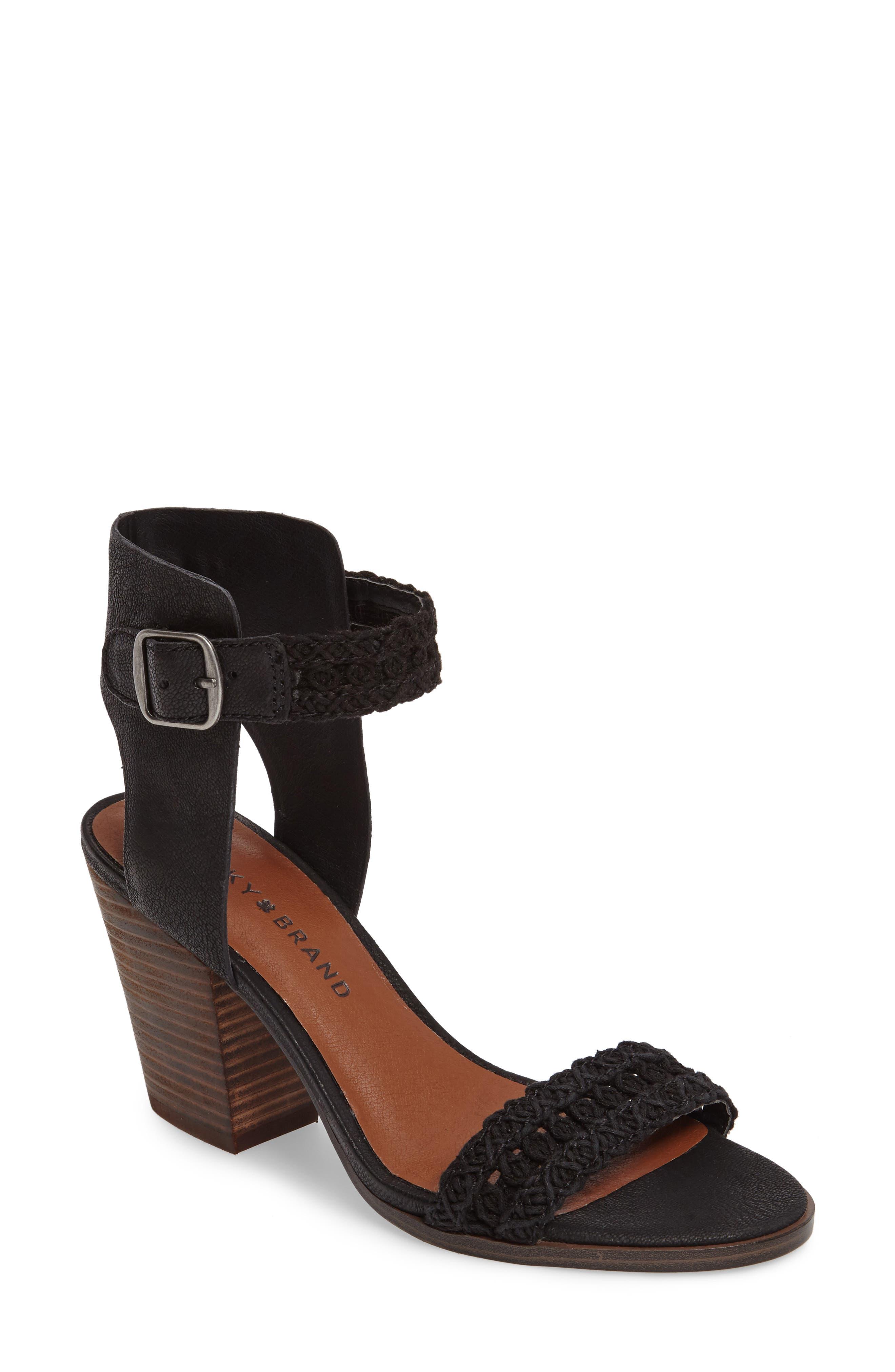 Oakes Ankle Strap Sandal,                             Main thumbnail 1, color,                             Black Leather