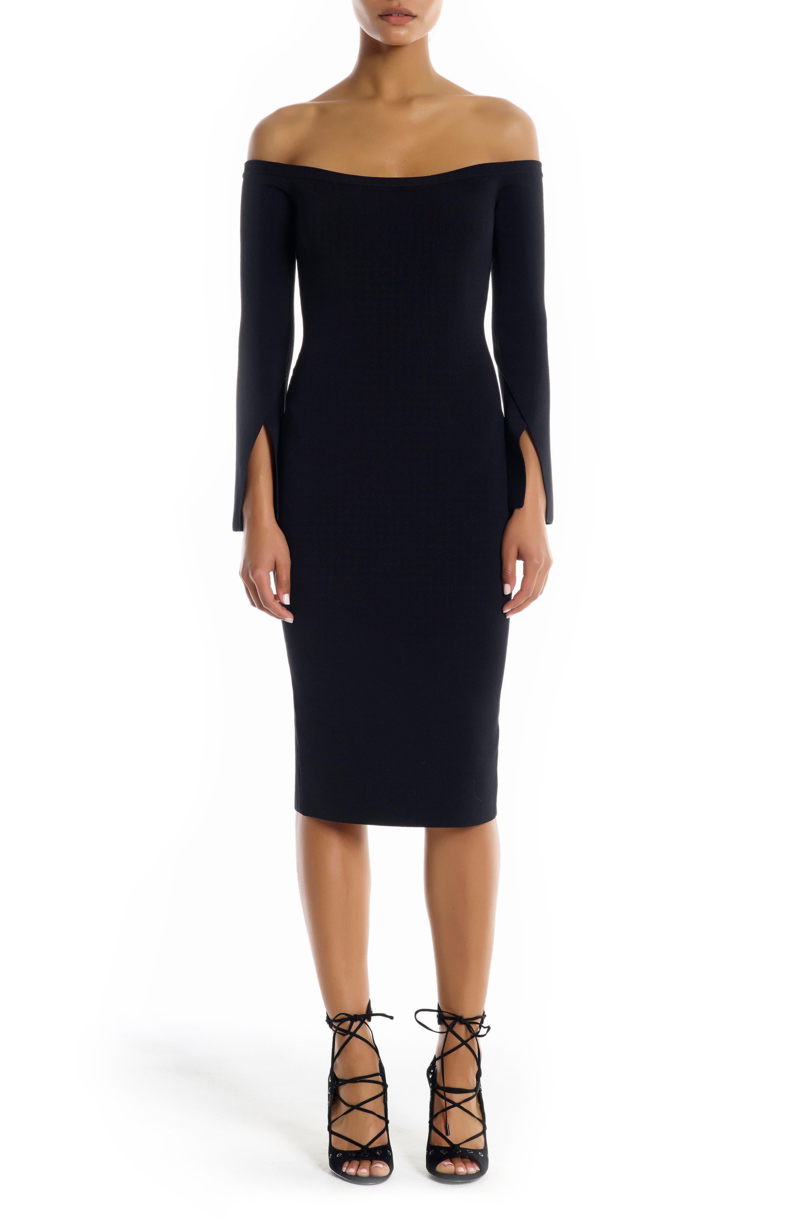 Off the Shoulder Body-Con Dress,                             Main thumbnail 1, color,                             Black