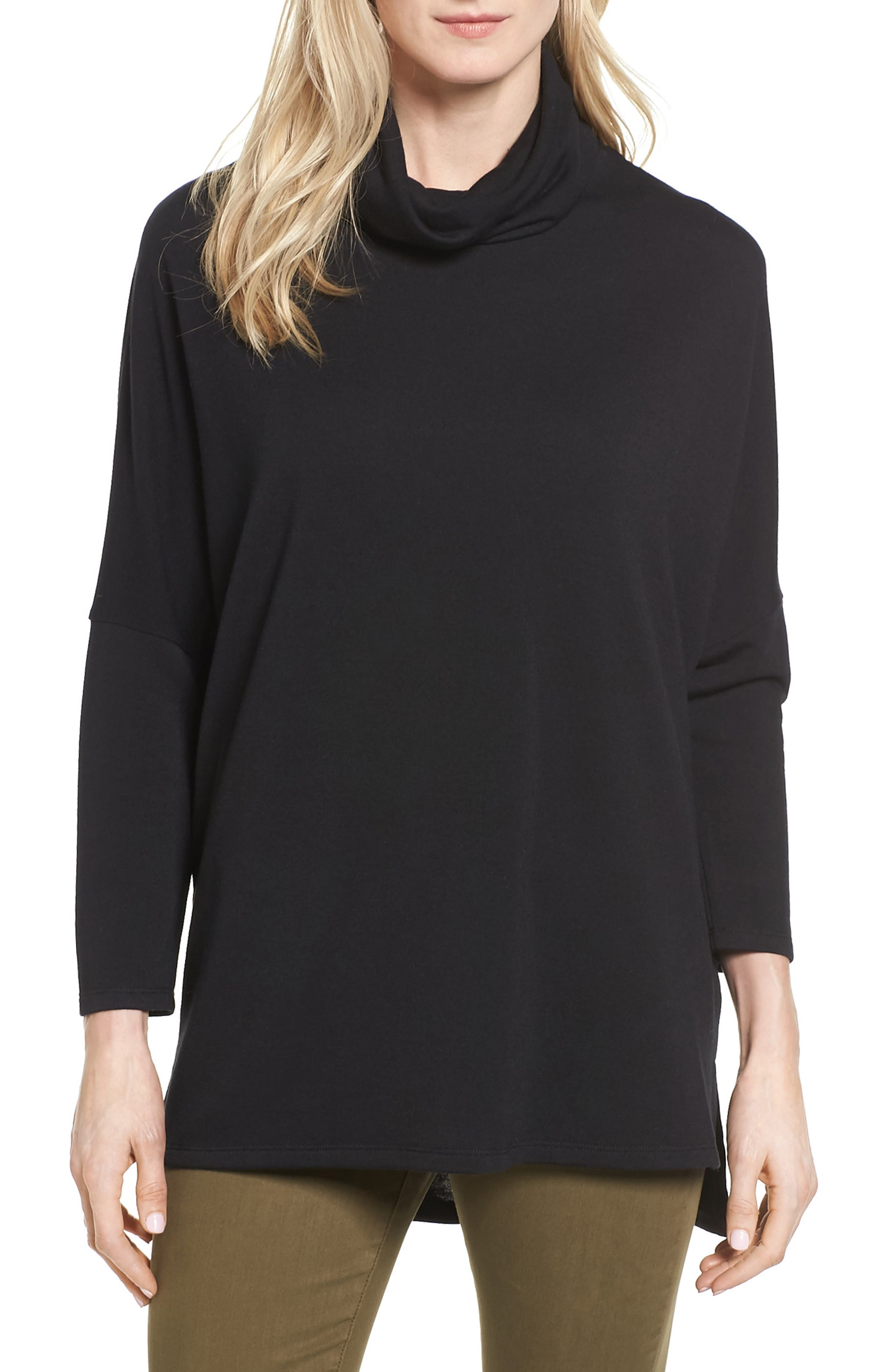 High/Low Tunic,                             Main thumbnail 1, color,                             Black