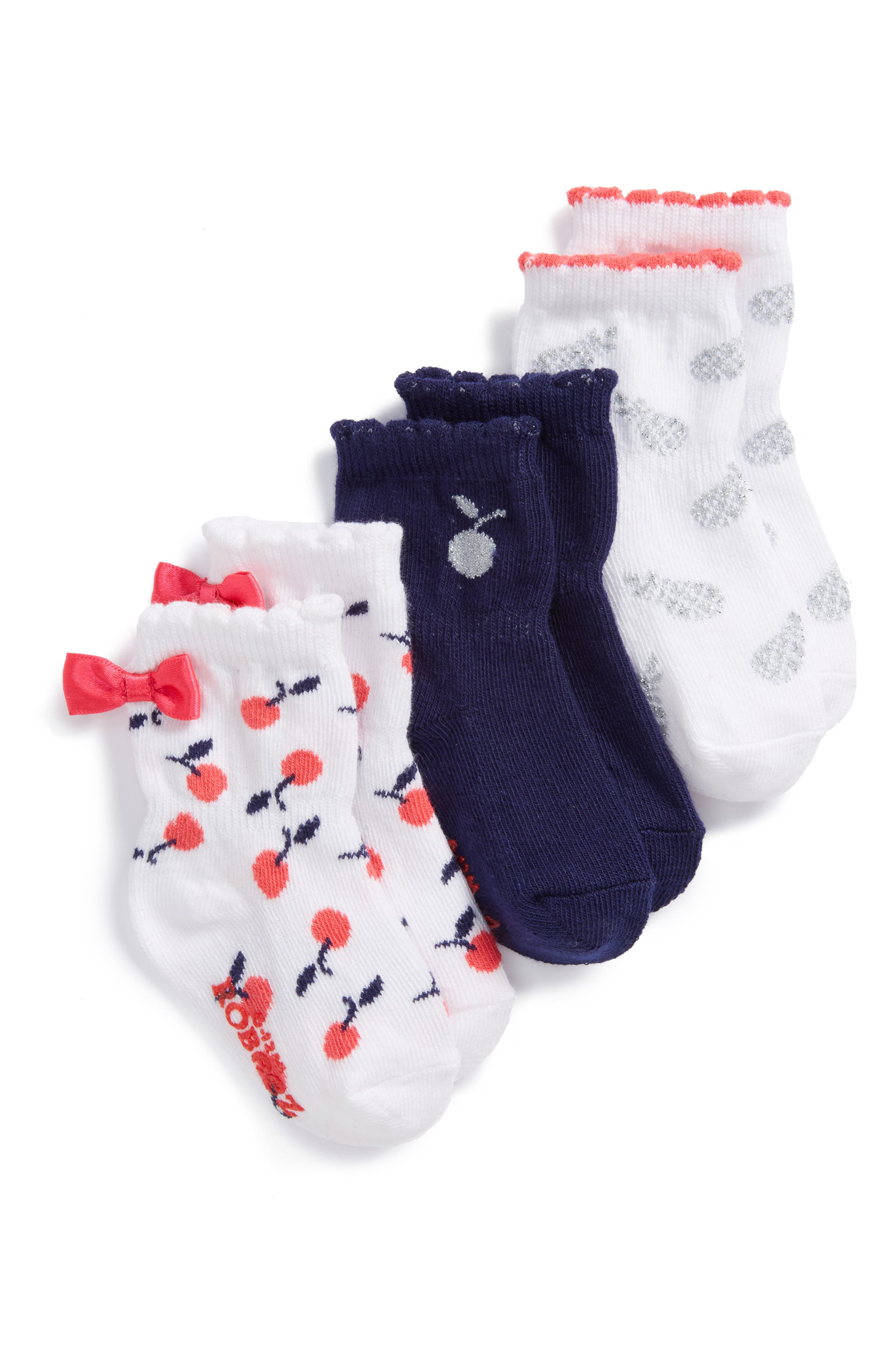 Assorted 3-Pack Socks,                         Main,                         color, White