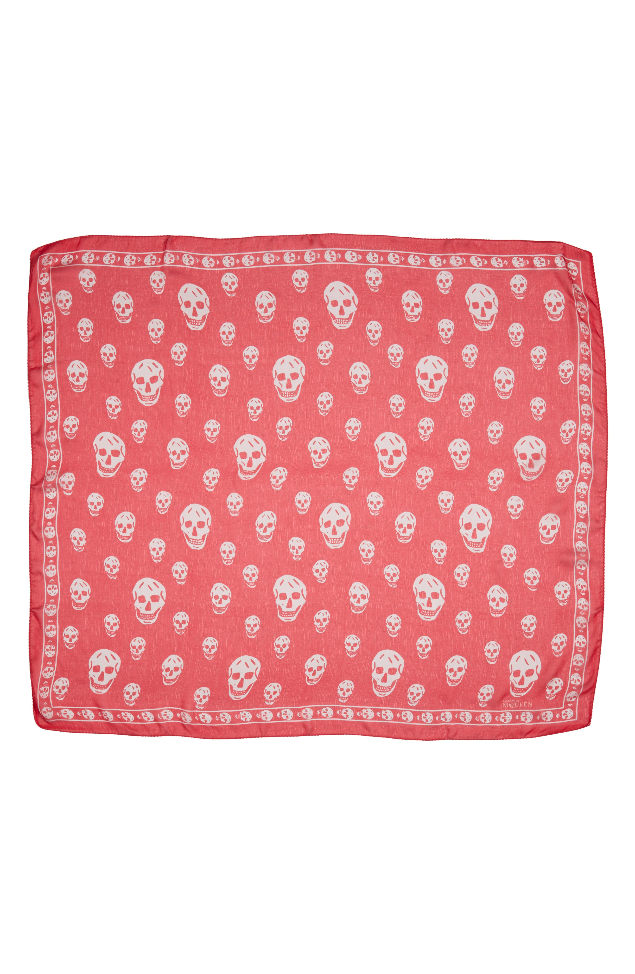 'Skull' Chiffon Scarf,                             Main thumbnail 1, color,                             Coral/ Beige