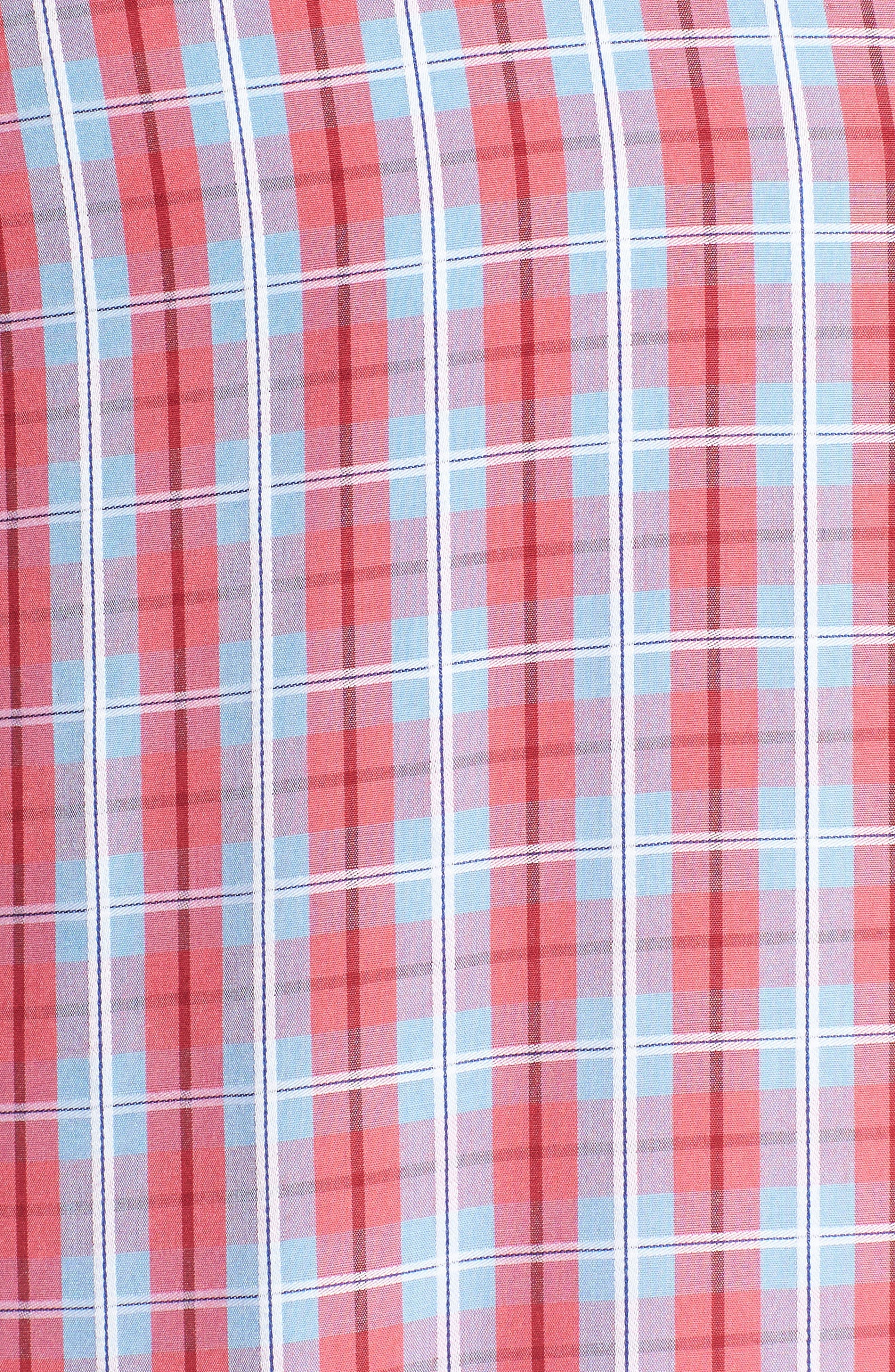 Shaped Fit Plaid Sport Shirt,                             Alternate thumbnail 5, color,                             Fuschia