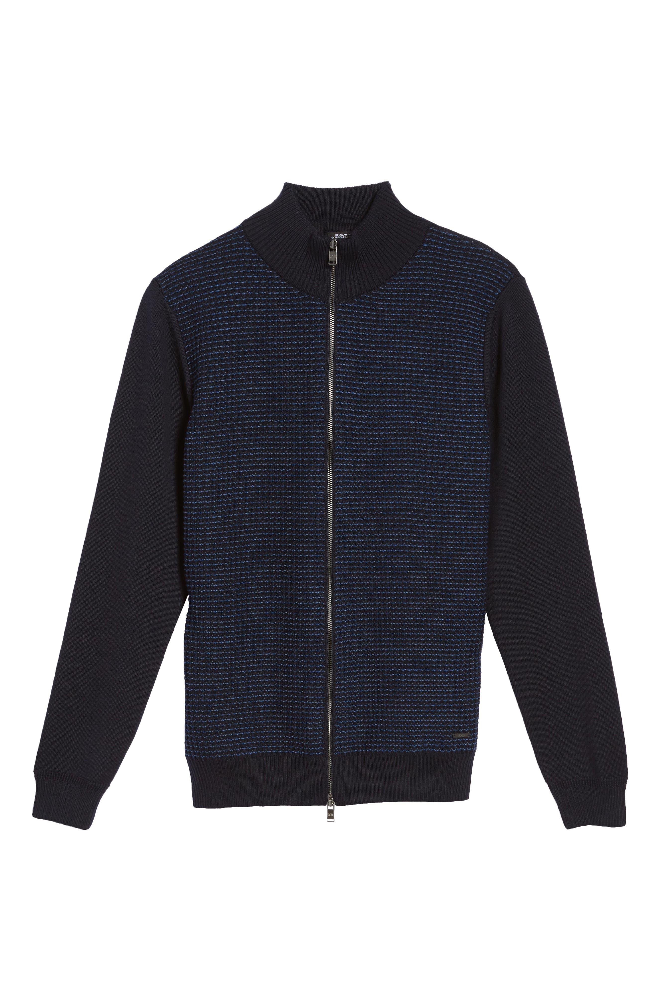 Bacco Full Zip Wool Sweater Jacket,                             Alternate thumbnail 5, color,                             Navy
