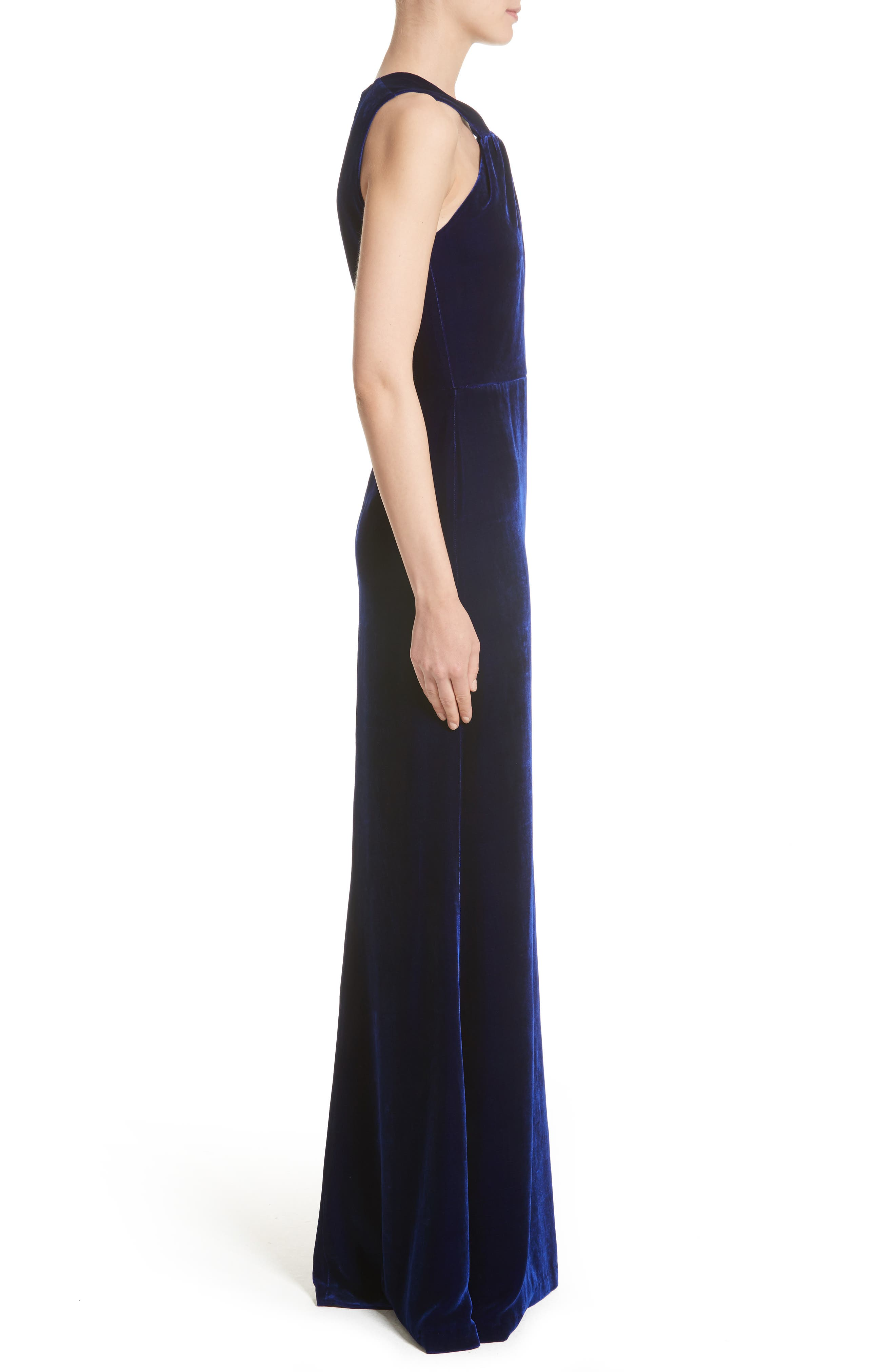 Draped Front Velvet Gown,                             Alternate thumbnail 4, color,                             Lazuli