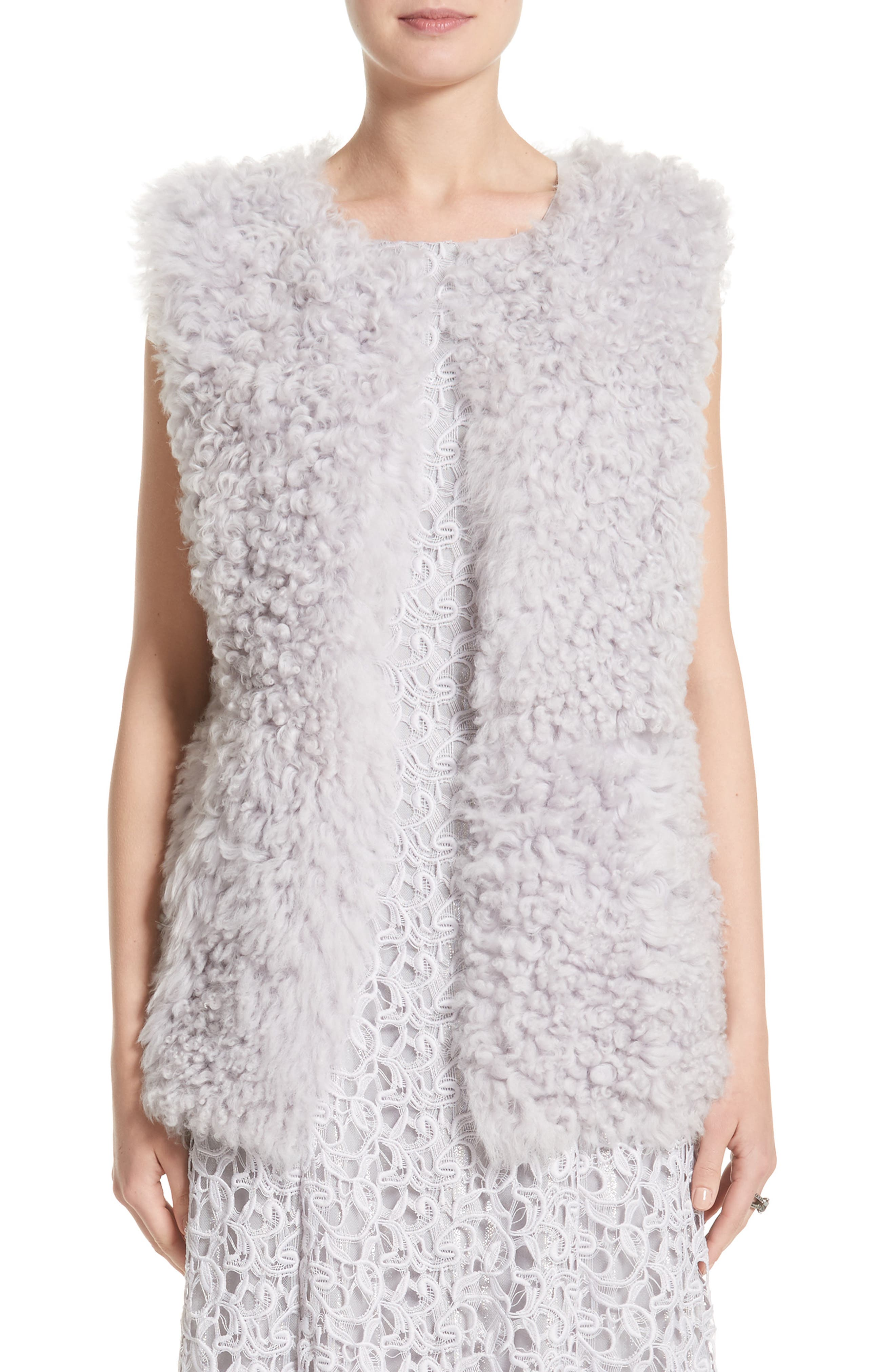St John Collection Reversible Genuine Curly Lamb Fur Vest,                         Main,                         color, Lavender