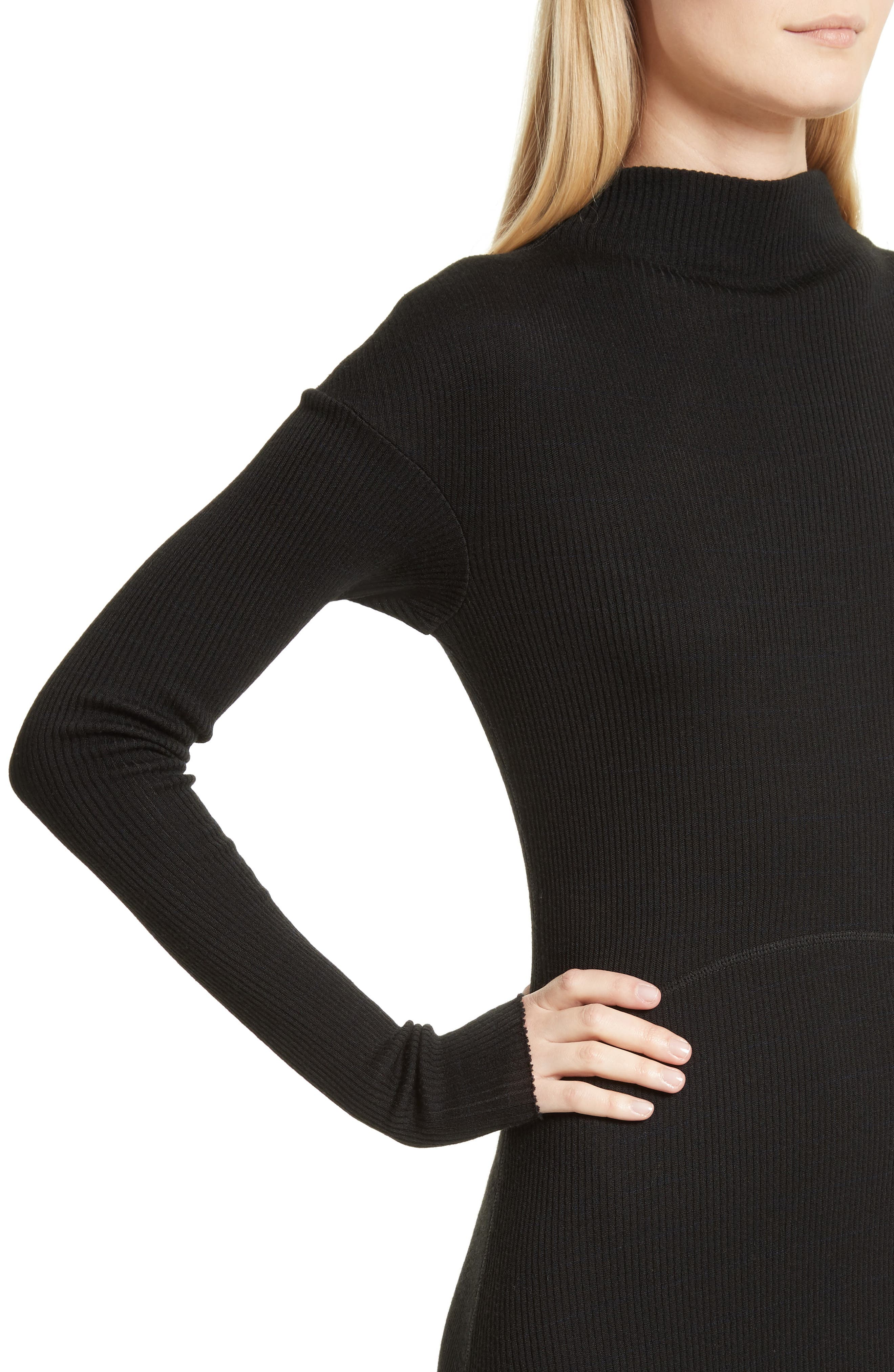 Ribbed Sweater Dress,                             Alternate thumbnail 4, color,                             Black