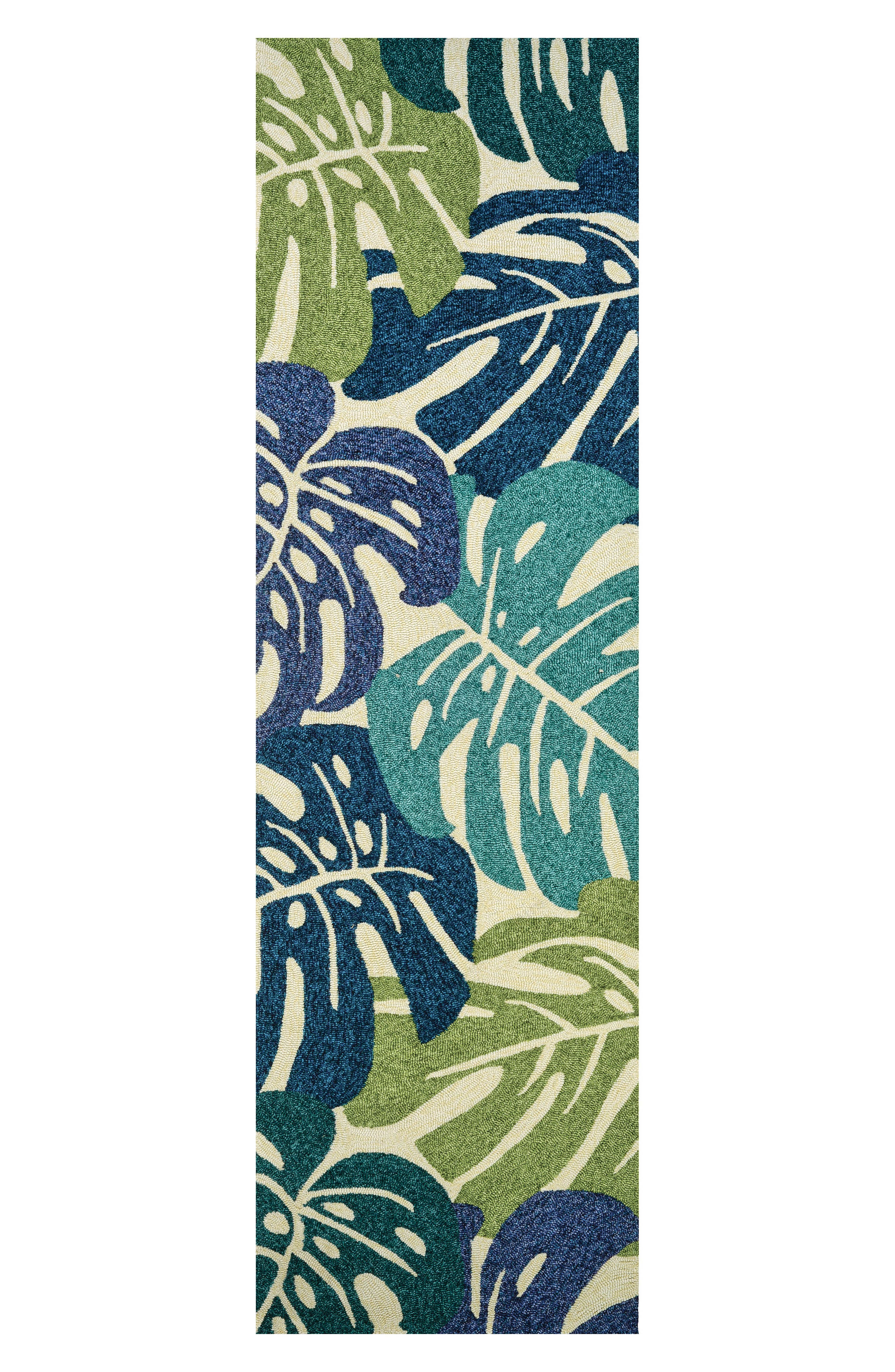 Monstera Indoor/Outdoor Rug,                             Alternate thumbnail 3, color,                             Blue/ Green