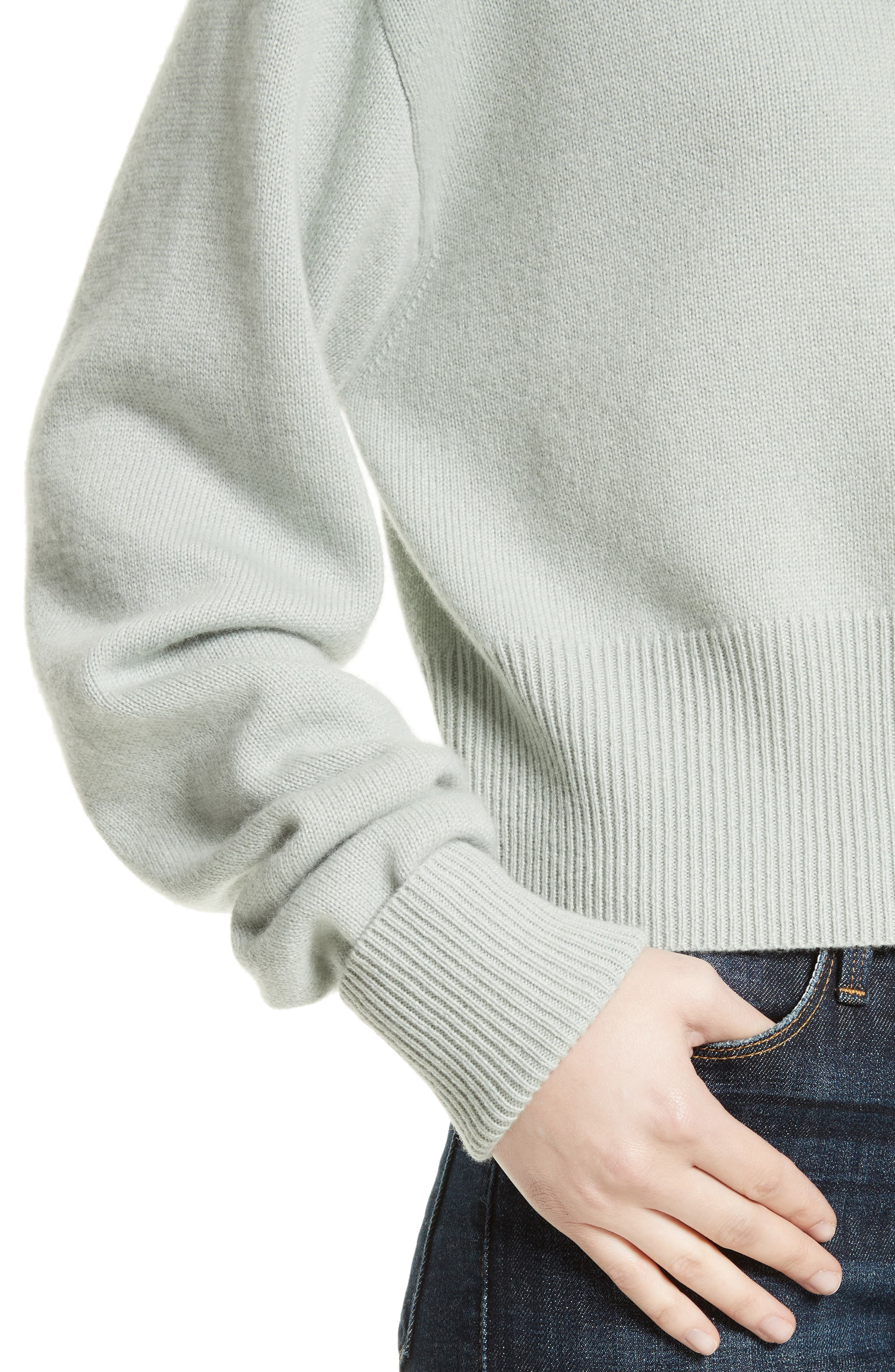 Boat Neck Cashmere Sweater,                             Alternate thumbnail 4, color,                             Light Winter Green