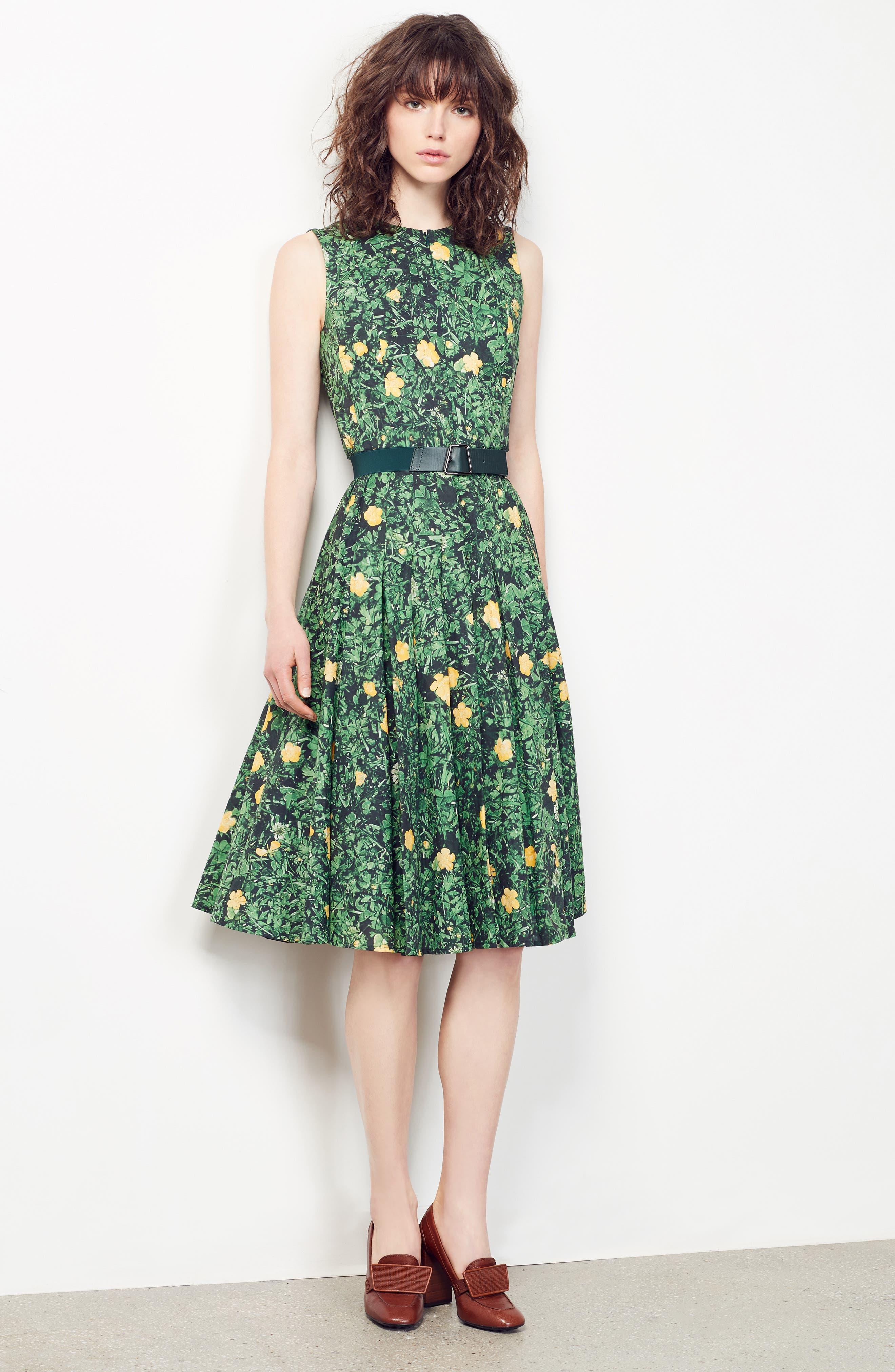Alternate Image 4  - Akris Floral Print Pleated Cotton Dress