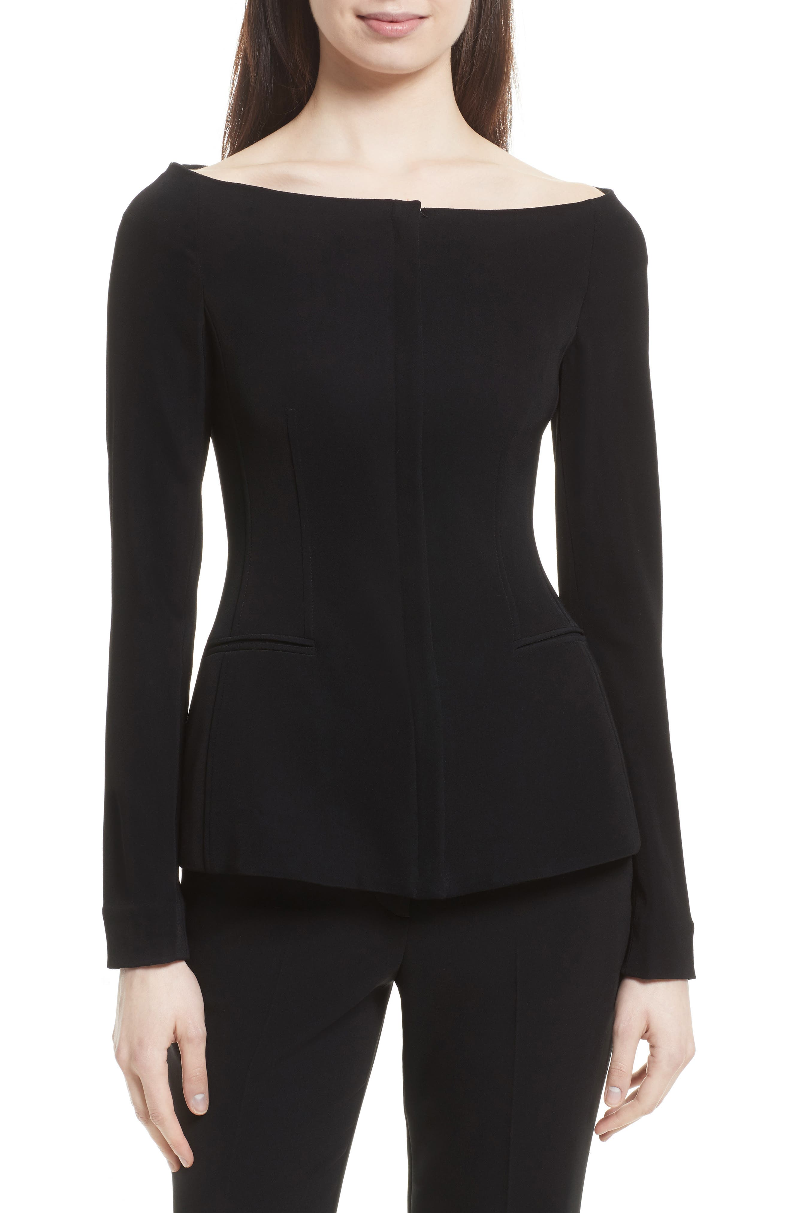 Theory Off the Shoulder Stretch Crepe Jacket