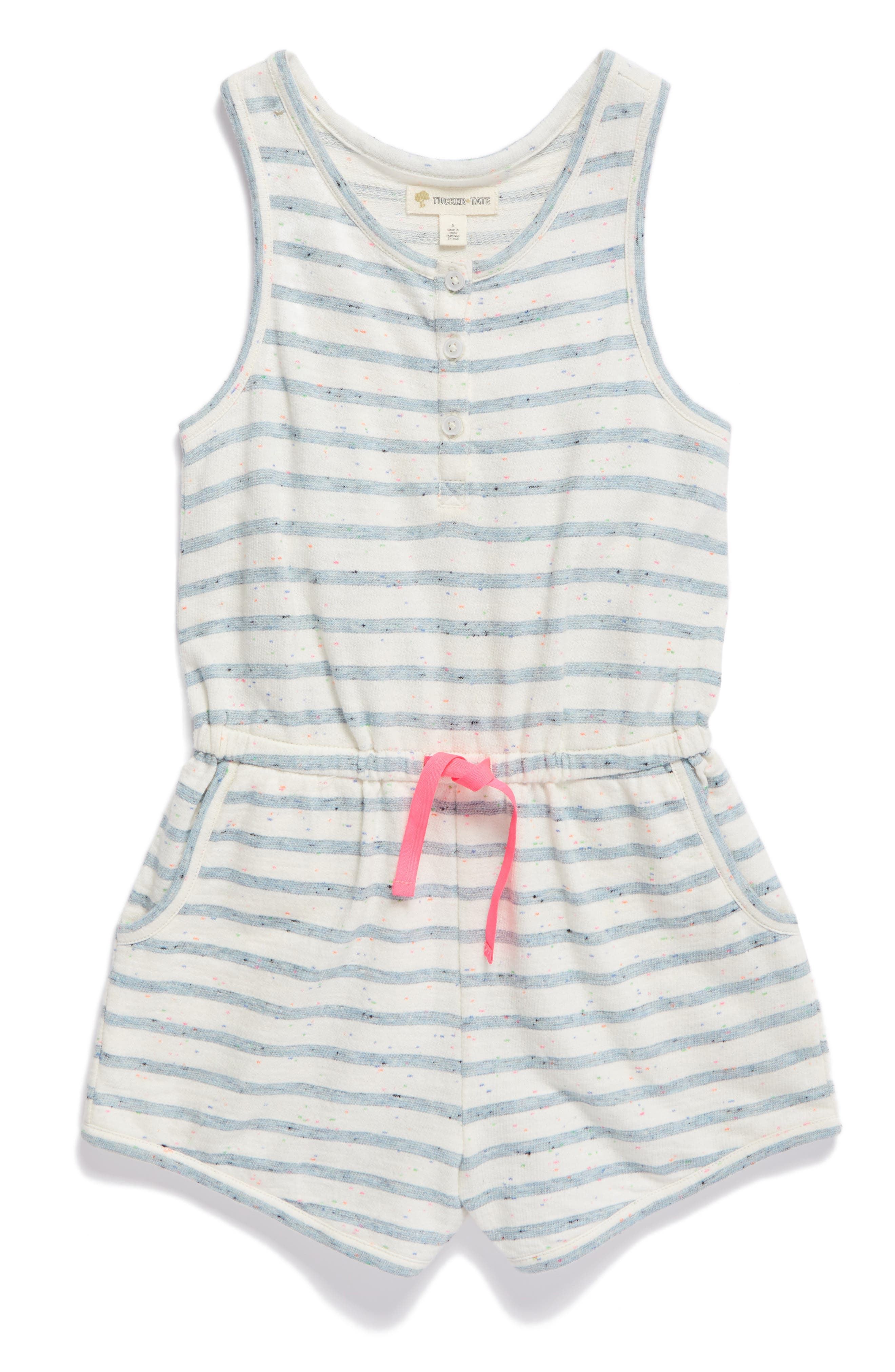 Tucker + Tate Terry Stripe Romper (Toddler Girls, Little Girls & Big Girls)