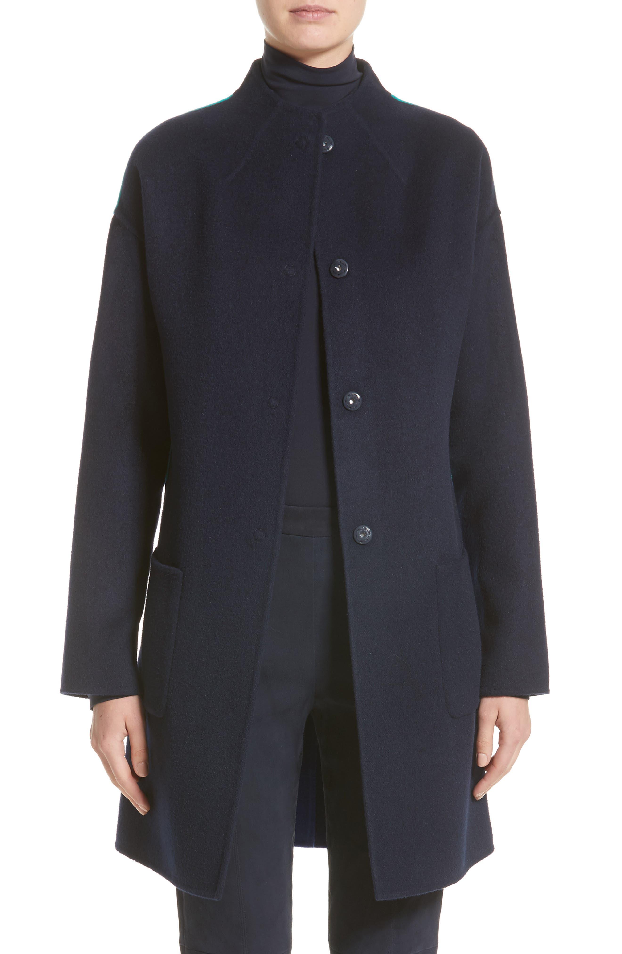 Colorblock Double Face Wool Blend Coat,                         Main,                         color, Navy/ Patchouli/ Lazuli