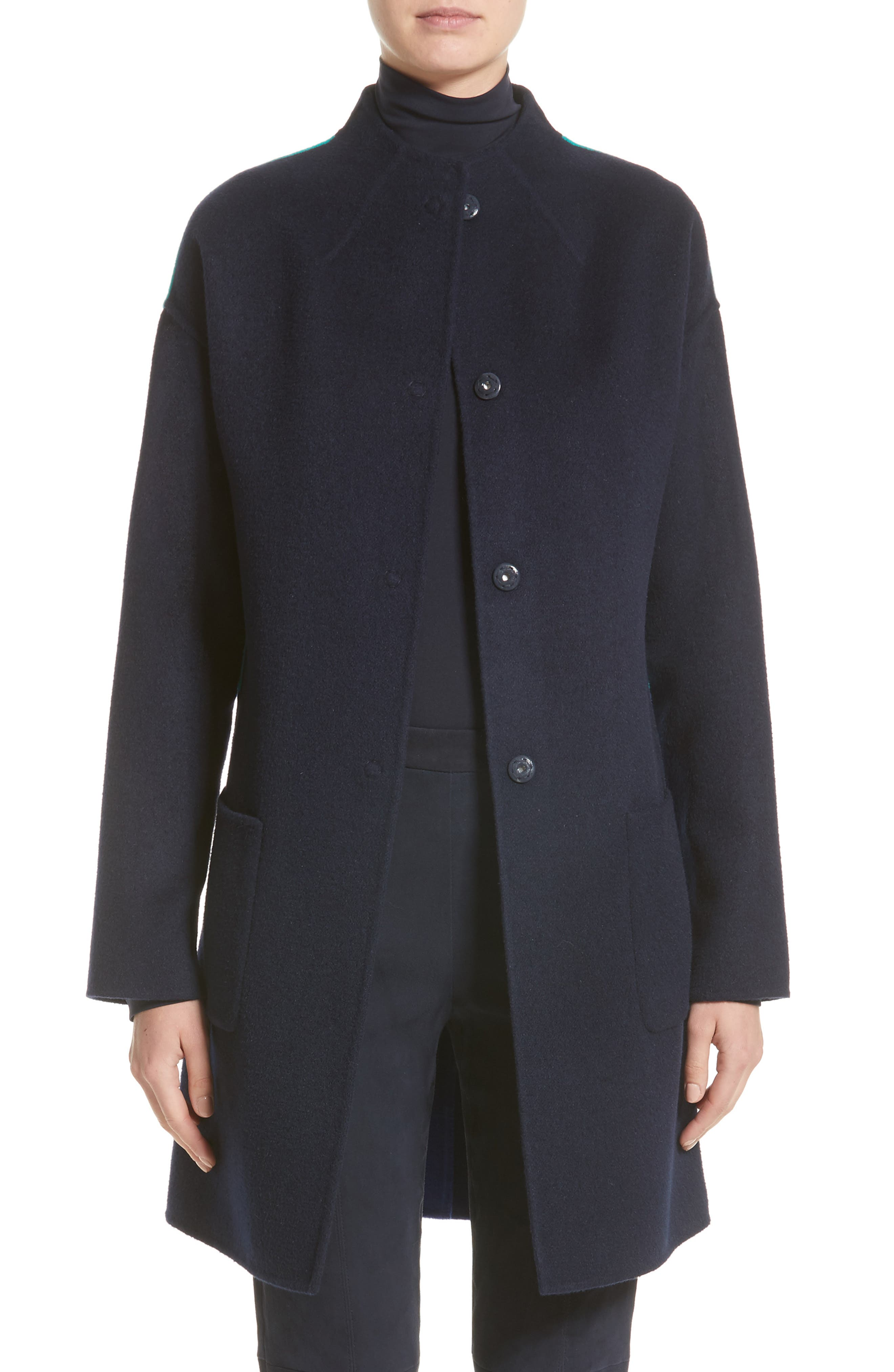 St. John Collection Colorblock Double Face Wool Blend Coat